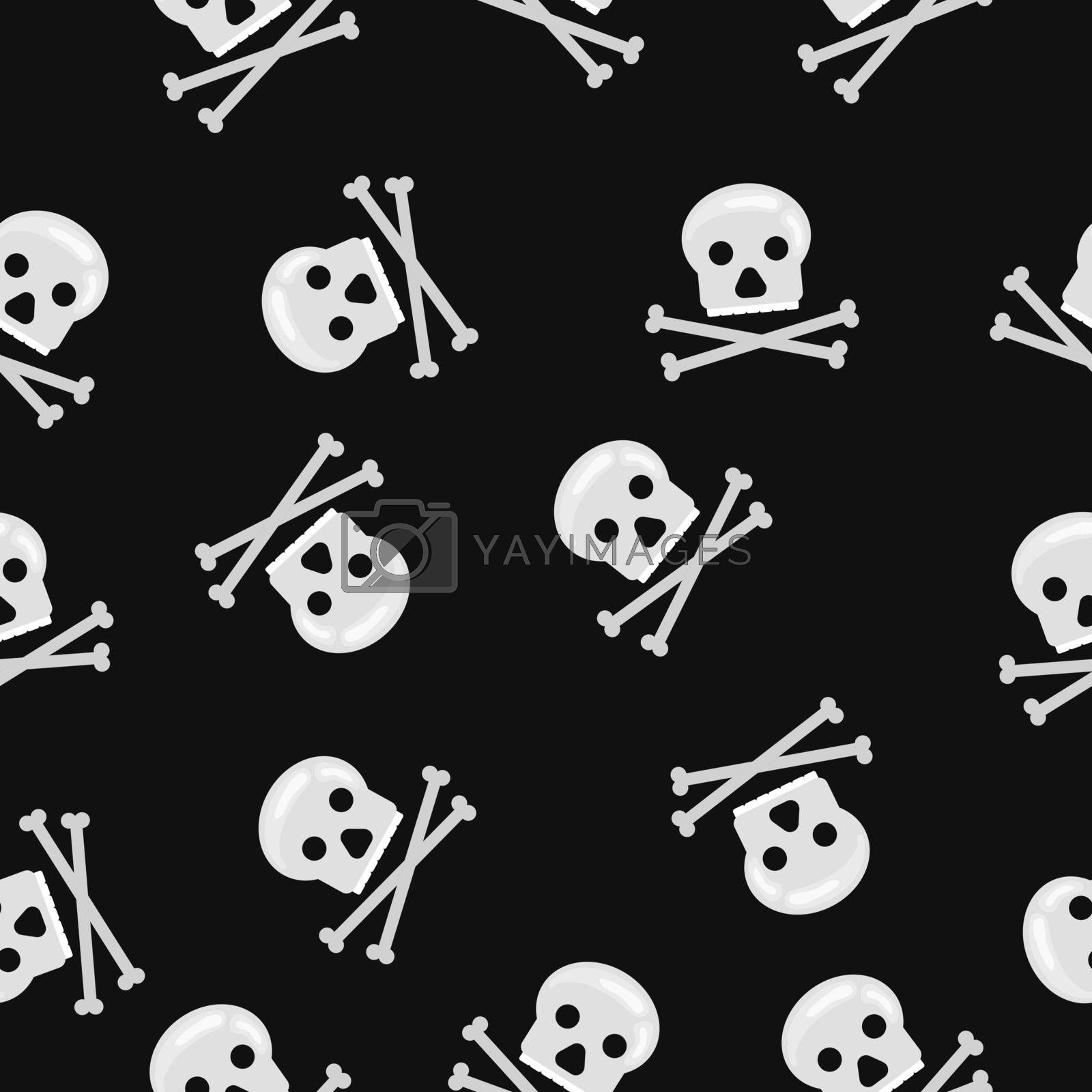 vector seamless with bones and skulls on black bacround
