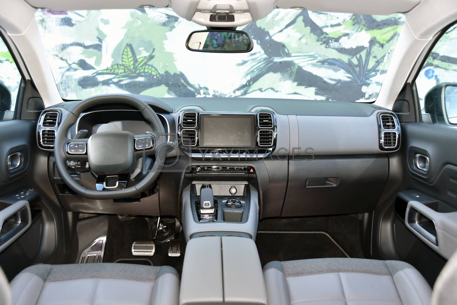 Royalty free image of Dashboard of a modern SUV. Interior of a modern SUV. by aselsa