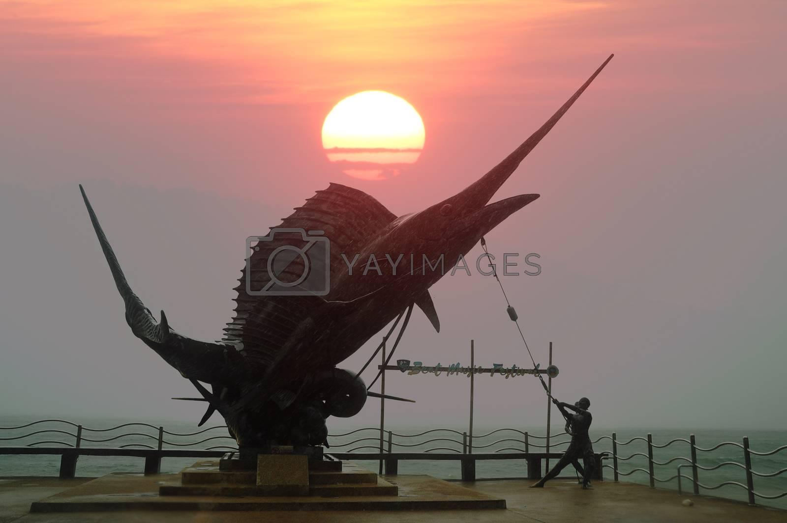 KRABI, THAILAND - JUNE 17 2018 : Statue of Marlin Fish landmarks at Ao Nang Beach, Krabi Province, Thailand