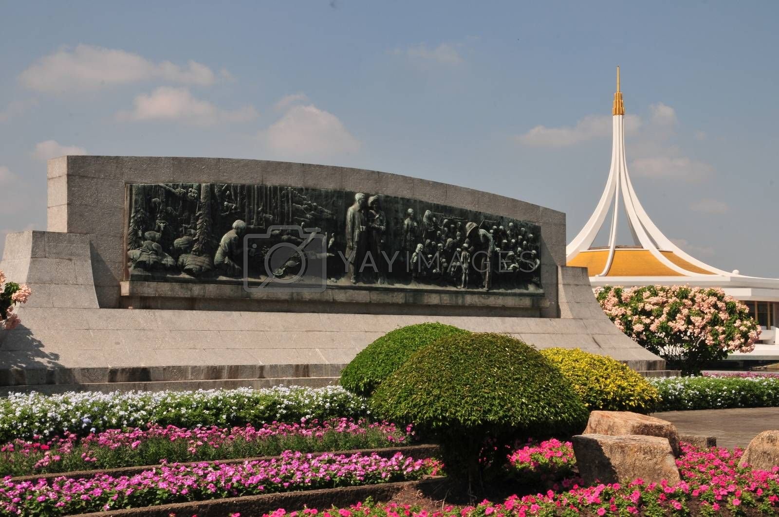 Bangkok, Thailand. - November 16, 2019 : Ratchamangkhala Pavilion of Suan Luang Rama IX Public Park Bangkok,Thailand With beautifully decorated flowers