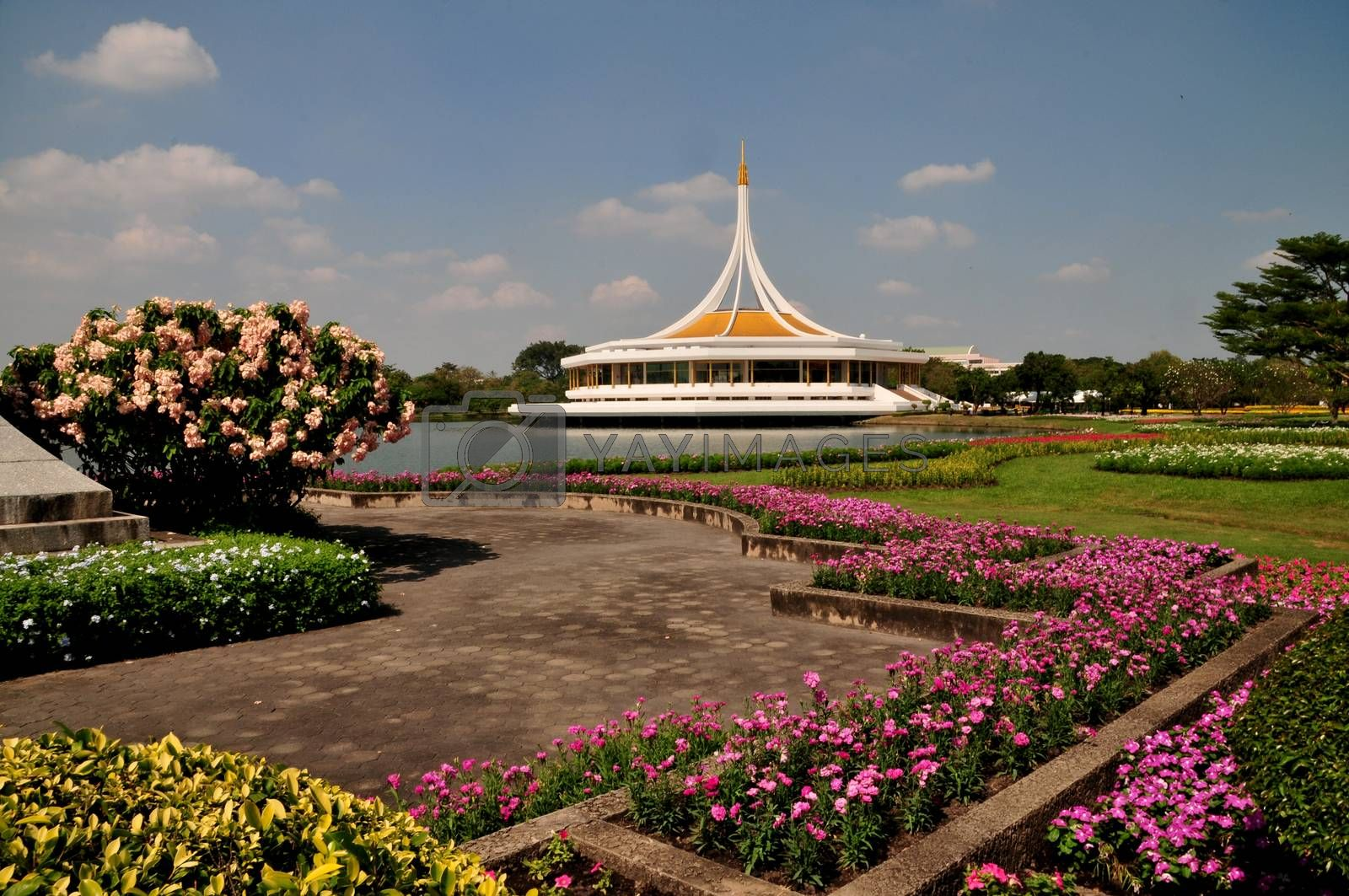 Ratchamangkhala Pavilion of Suan Luang Rama IX Public Park Bangkok,Thailand With beautifully decorated flowers