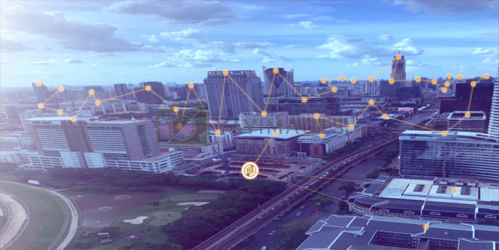 Panorama of Bangkok city and vehicle traffic.