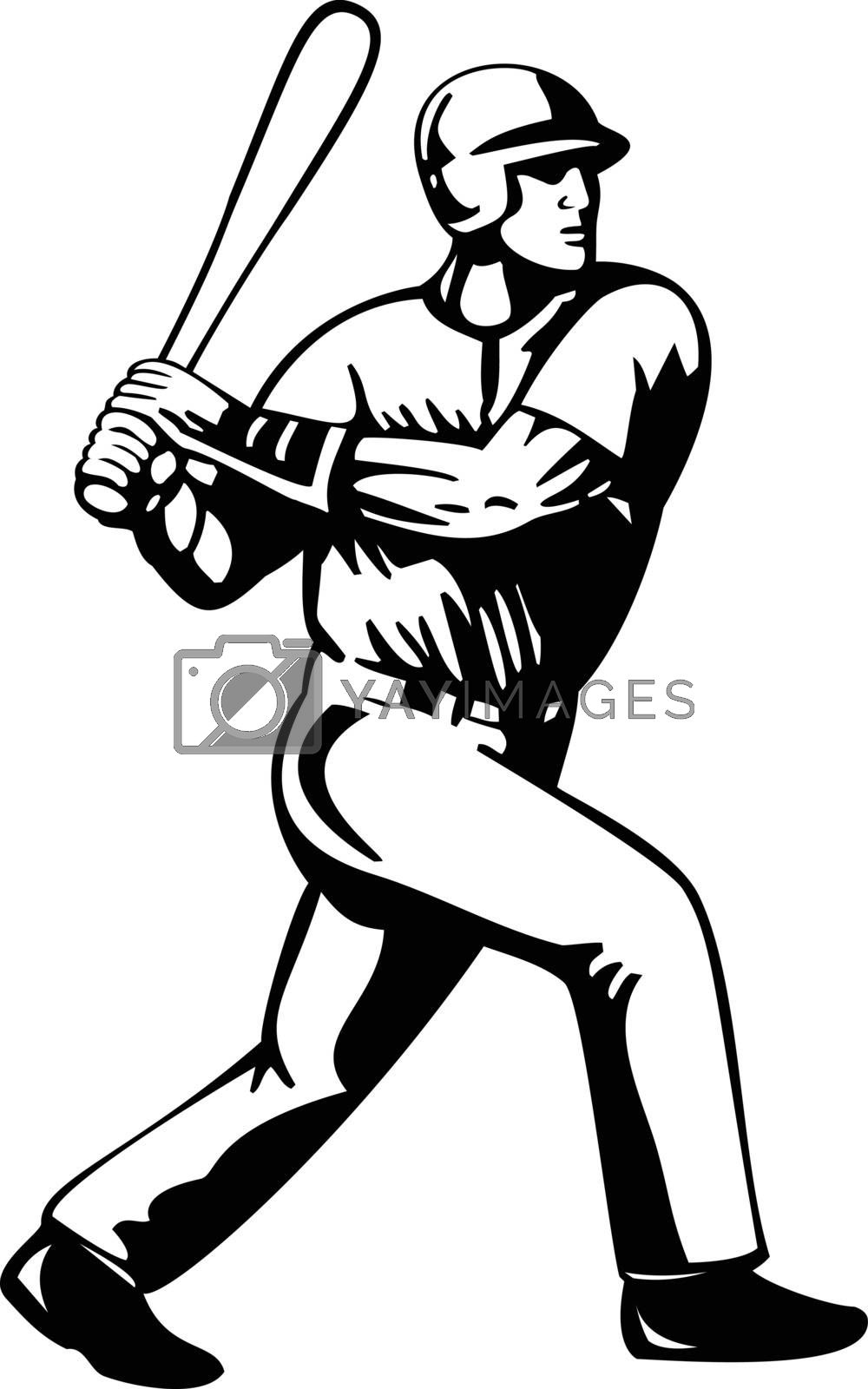 Retro style illustration of a baseball player batting viewed from side on isolated background done in black and white.