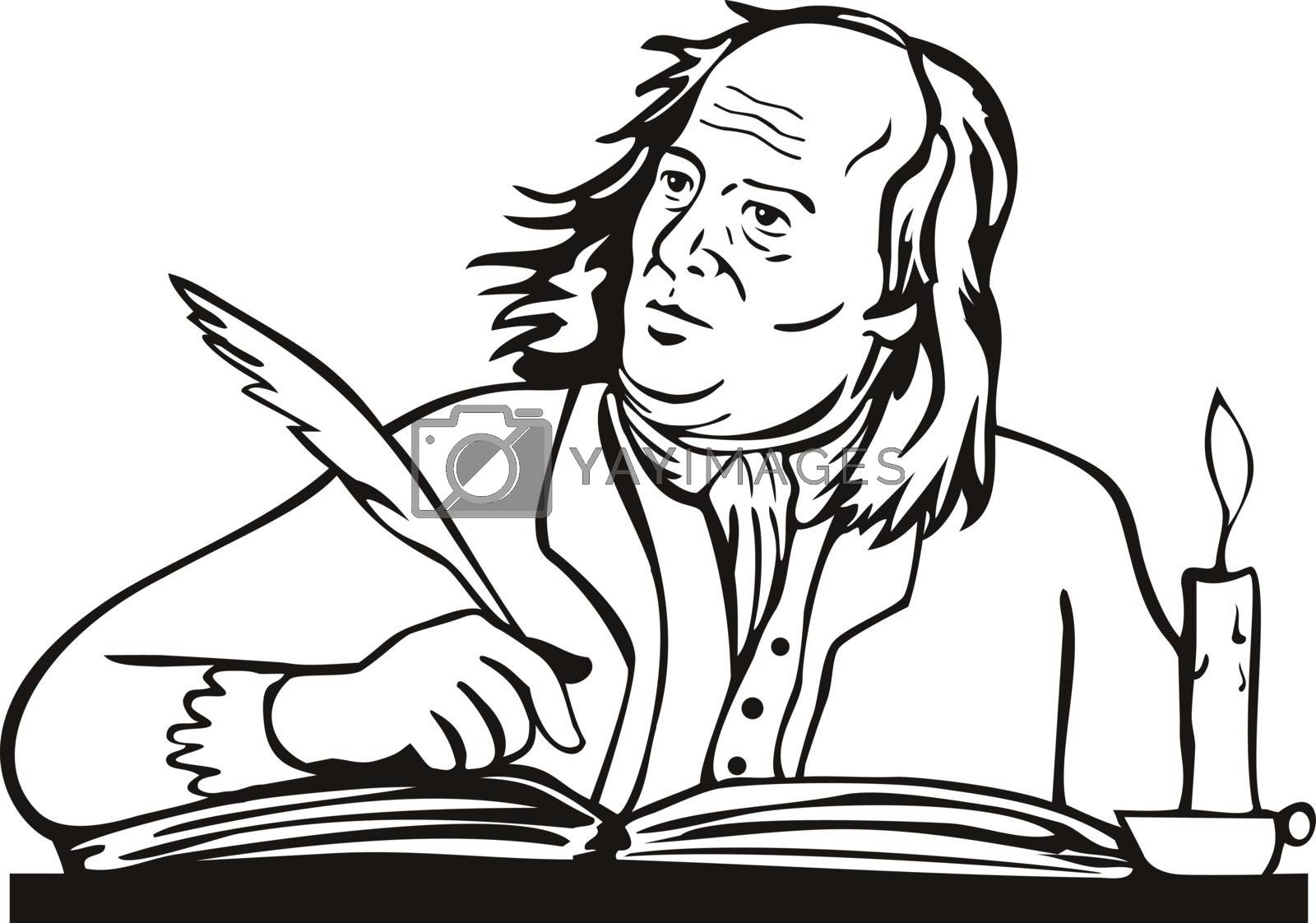 Retro style illustration of Benjamin Franklin, an American polymath and one of the Founding Fathers of the United States, as a writer writing with quill on isolated background done in black and white.