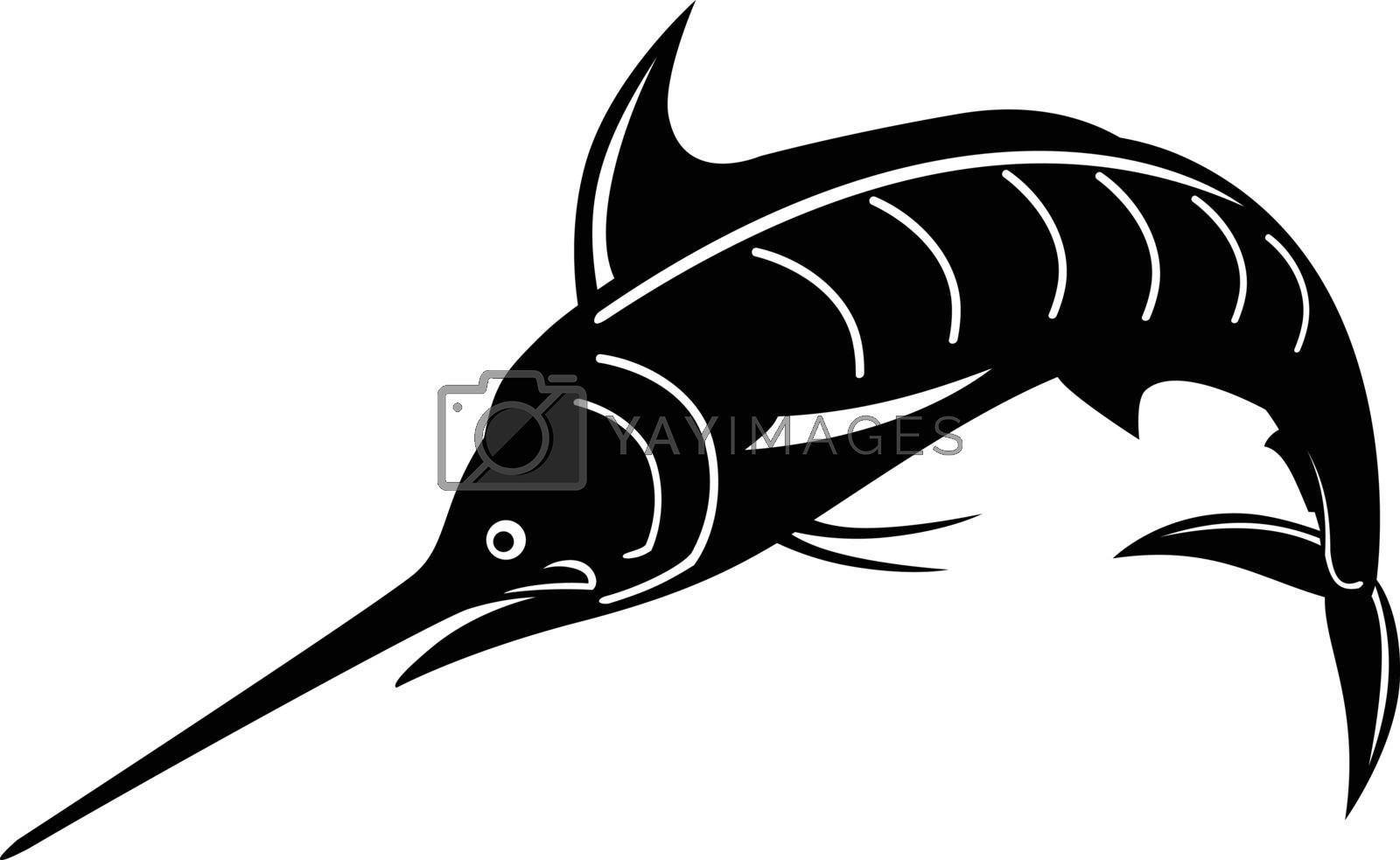 Retro woodcut style illustration of an Atlantic blue marlin, a species of marlin endemic to the Atlantic Ocean, jumping upward done in black and white on isolated background.