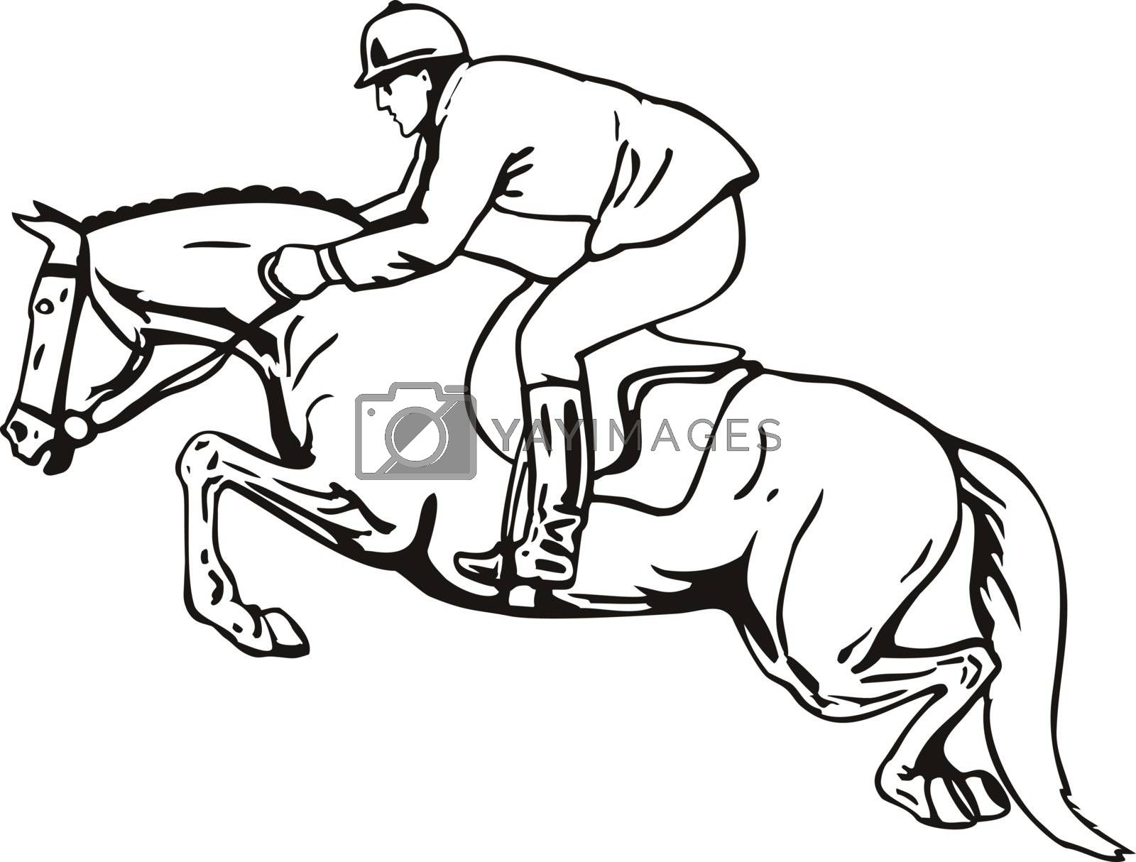 Retro style illustration of an equestrian and horse show jumping, stadium jumping or open jumping, a part of a group of English riding equestrian event viewed from side done in black and white.