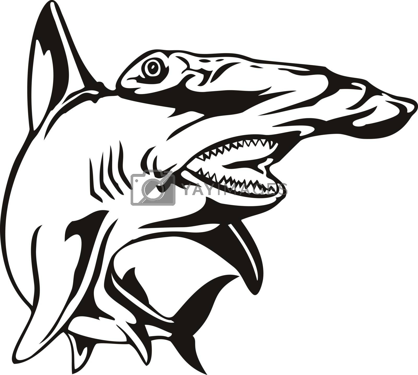 Retro woodcut style illustration of a scalloped hammerhead Sphyrna lewini, a species of hammerhead shark, and part of the family Sphyrnidaeon viewed from front isolated background in black and white.