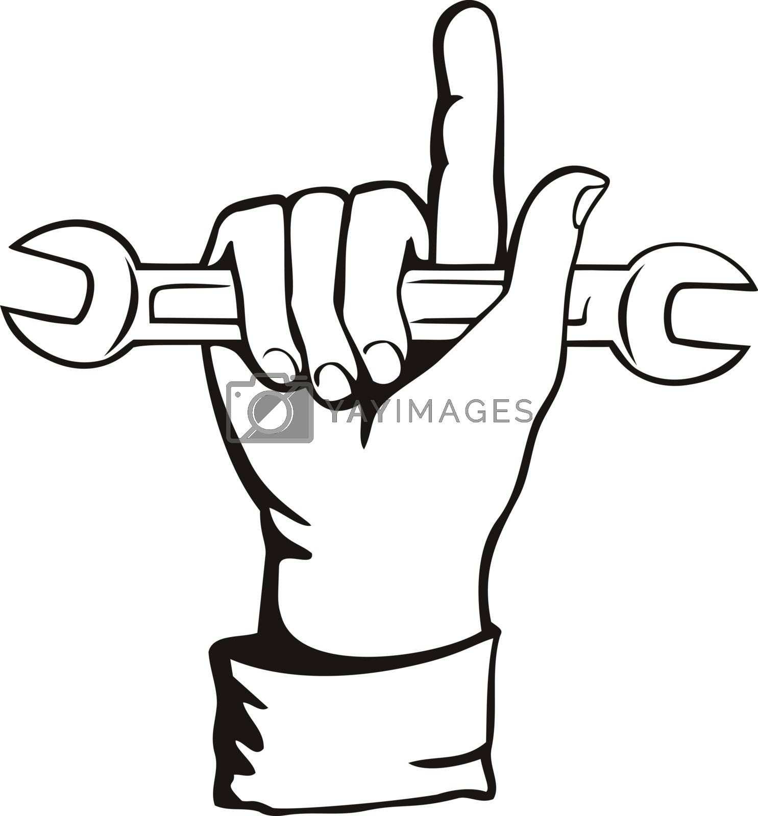 Retro style illustration of a mechanic hand holding a spanner or wrench tool with index finger or forefinger pointing up on isolated background done in black and white.