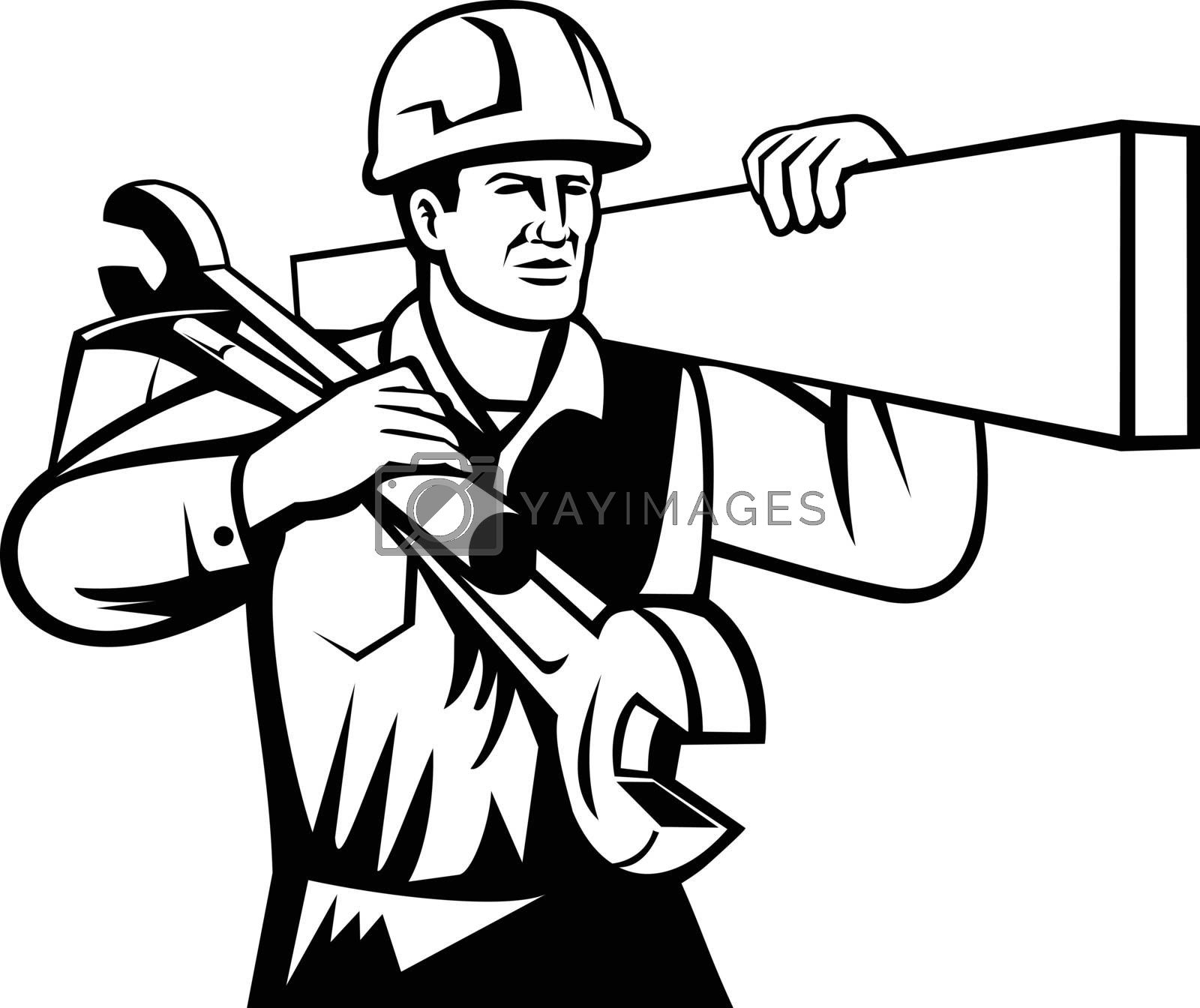 Black and white illustration of a handyman, builder or tradesman worker with hard hat carrying spanner wrench and spade viewed from front on isolated background done in retro style.