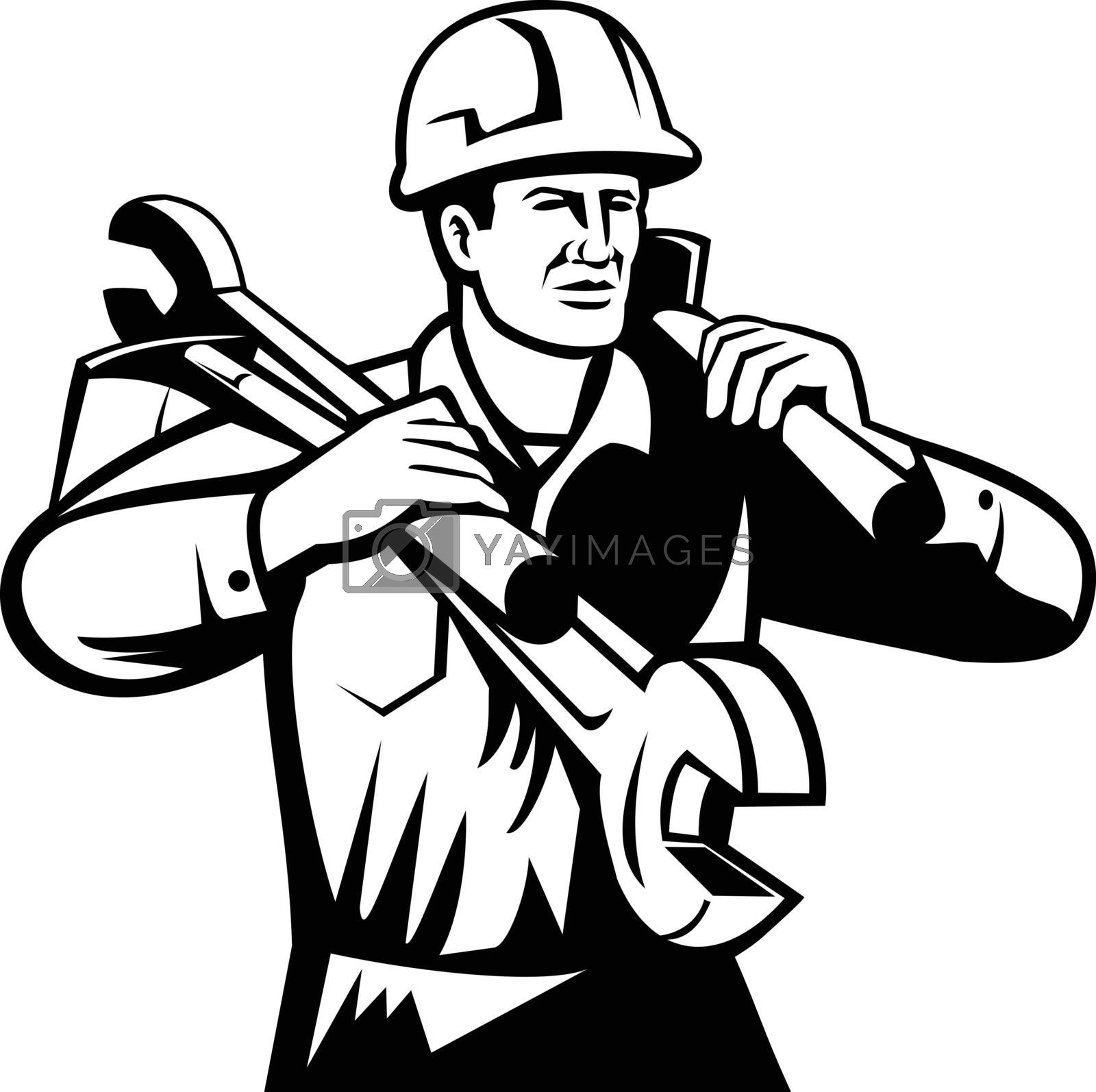 Black and white illustration of a handyman, repairman, or  builder wearing hard hat carrying spanner wrench and spade viewed from front on isolated background done in retro style.