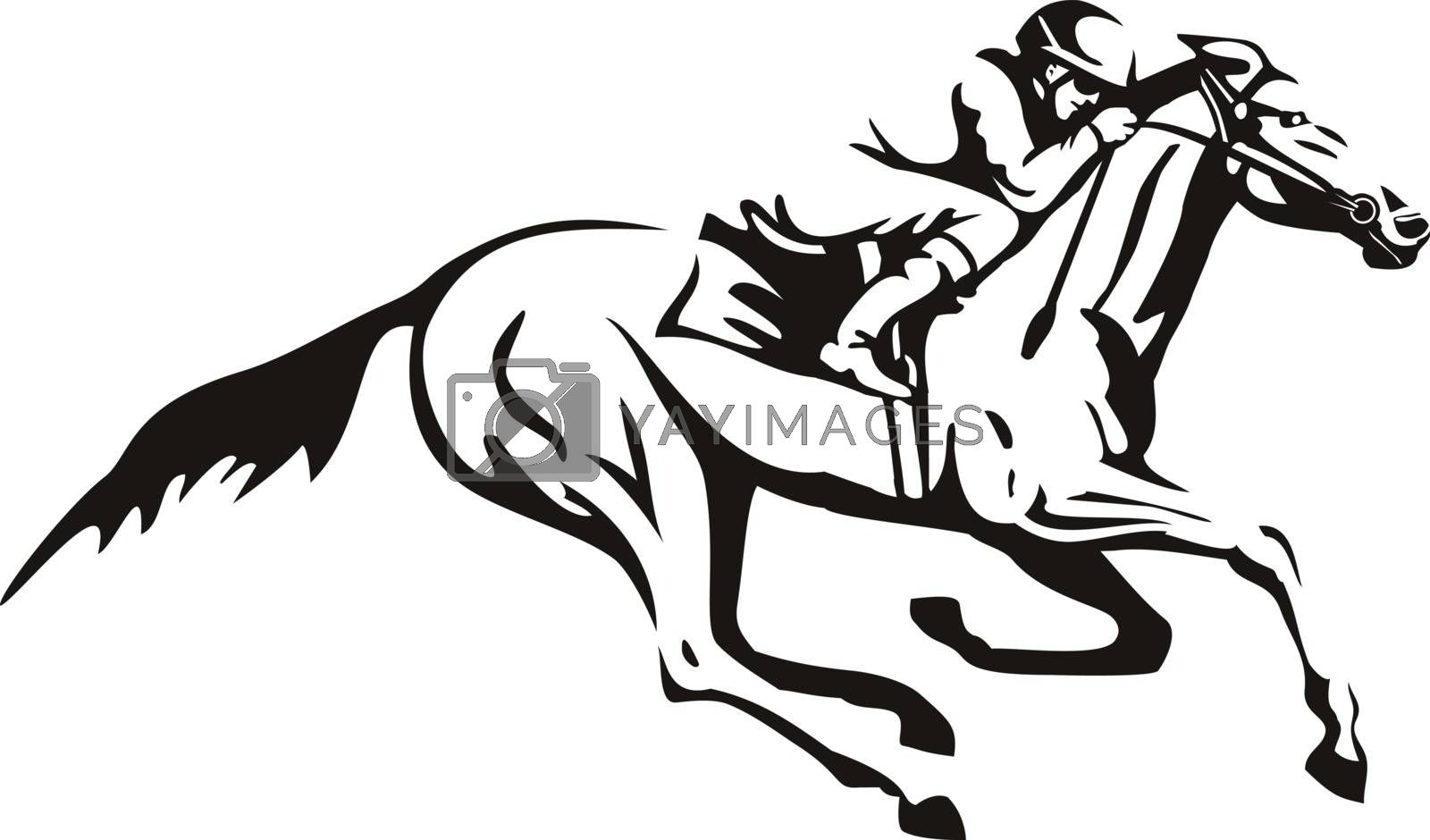 Retro style illustration of a jockey riding horse horseback or horse racing viewed from side on isolated background in black and white.