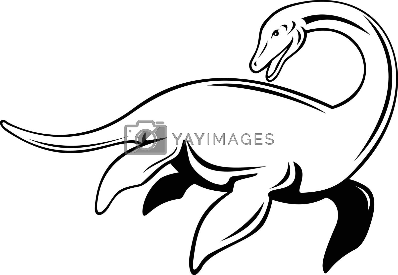 Retro style illustration of a Loch Ness Monster or Nessie, a cryptid in cryptozoology and Scottish folklore that is large long-necked, viewed from side on isolated background in black and white.