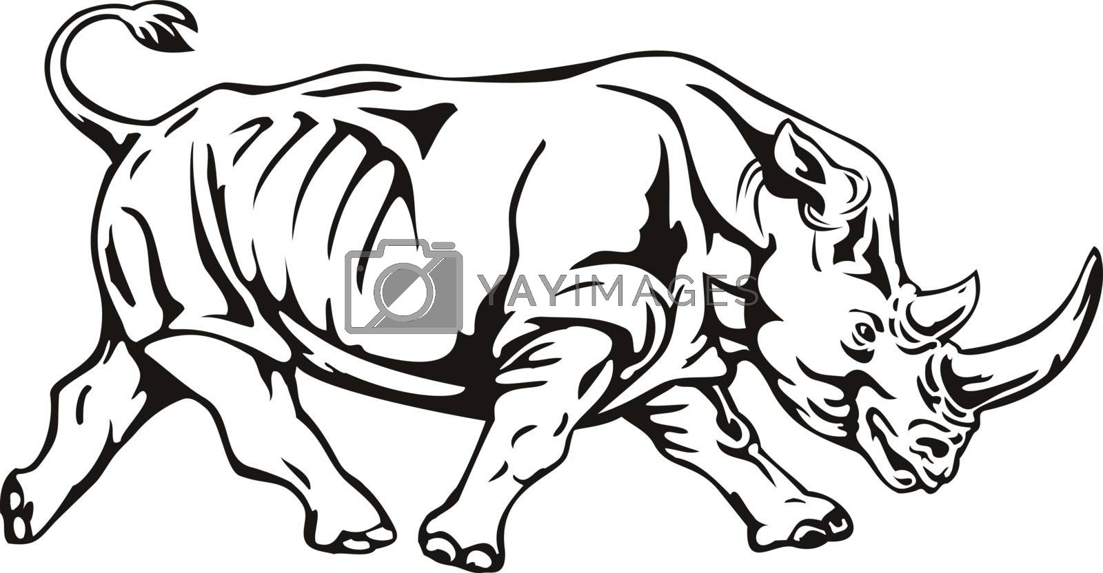 Retro woodcut style illustration of a white rhinoceros or square-lipped rhinoceros, the largest extant species of rhinoceros, running and charging side view on isolated background in black and white.