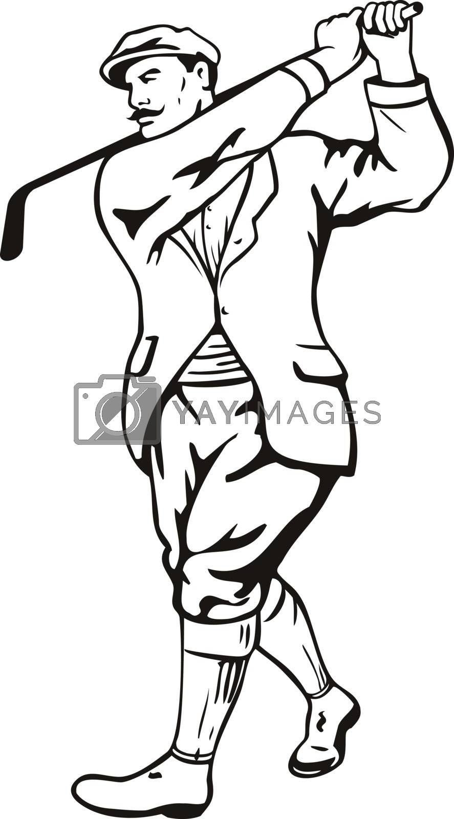 Stencil illustration of a vintage golfer with golf club golfing or teeing off wearing cheese cutter hat or  newsboy cap viewed from front on isolated background done in black and white retro style.
