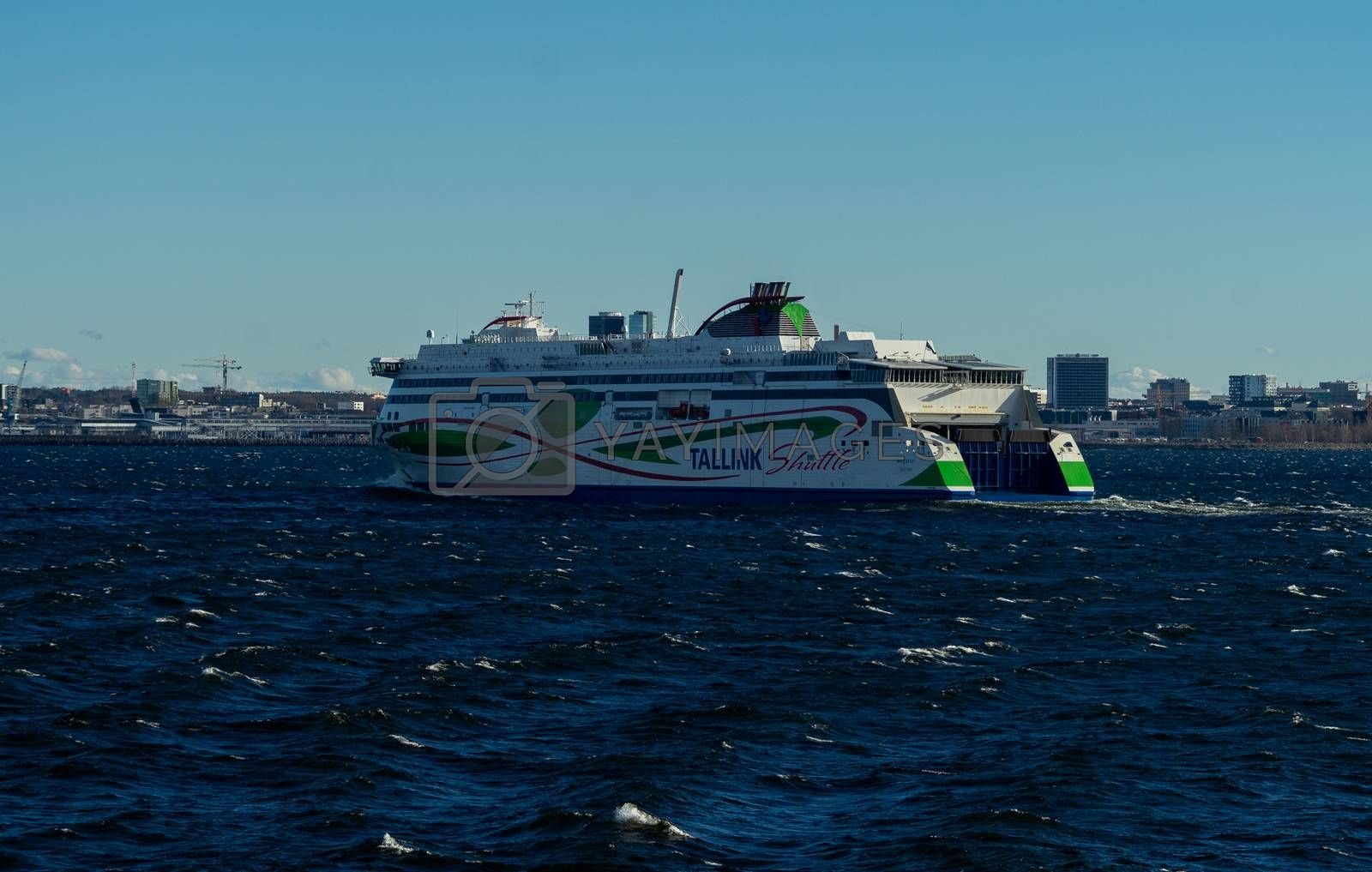 21 April 2019, Tallinn, Estonia. High-speed passenger and car ferry of the Estonian shipping concern Tallink Megastar in the port of Tallinn.