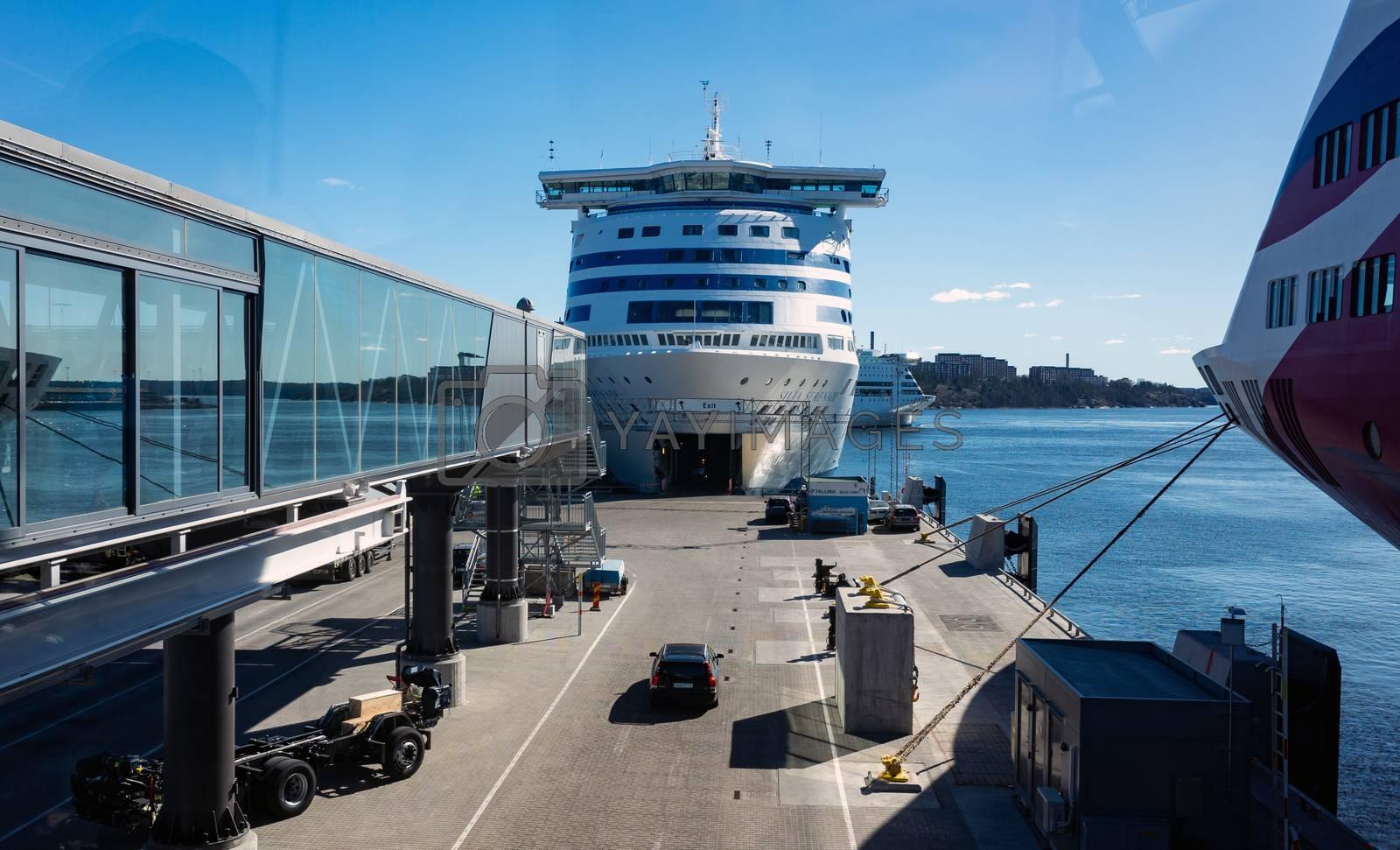 22 April 2019, Stockholm, Sweden. High-speed passenger and car ferry of the Estonian shipping concern Tallink Silja Europa in the port Vartahamnen in Stockholm.