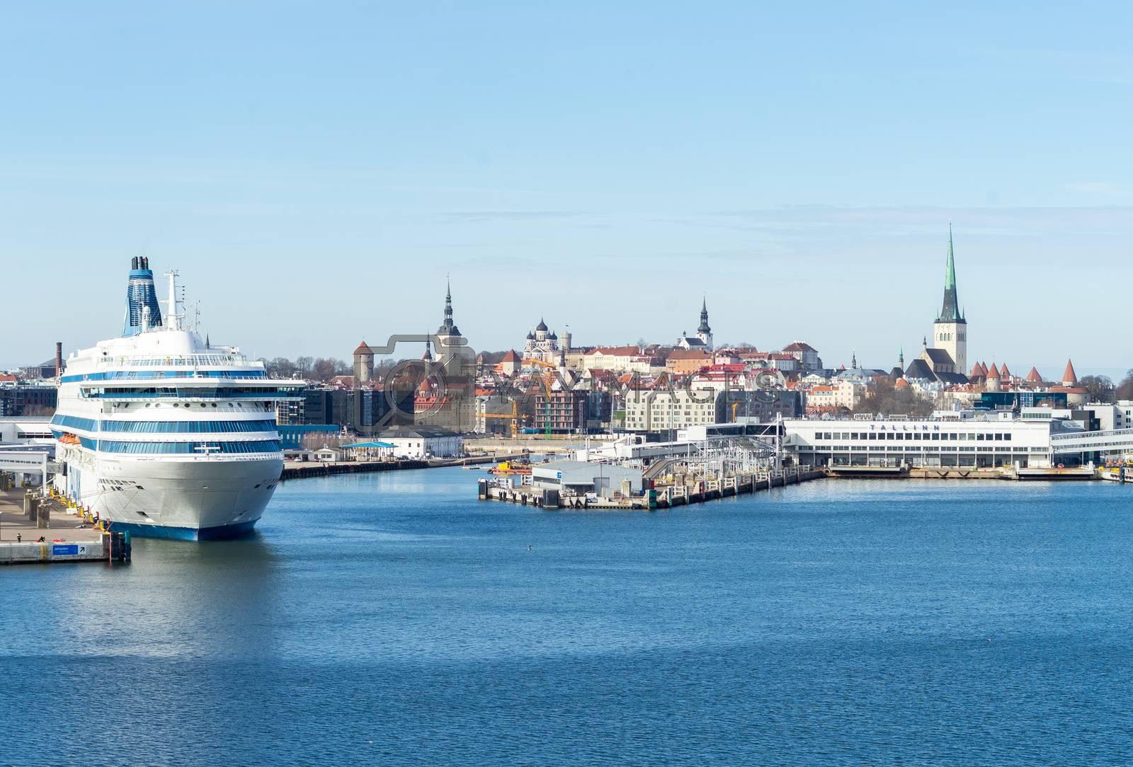 23 April 2019, Tallinn, Estonia. High-speed passenger and car ferry of the Estonian shipping concern Tallink Silja Europa in the port of Tallinn.