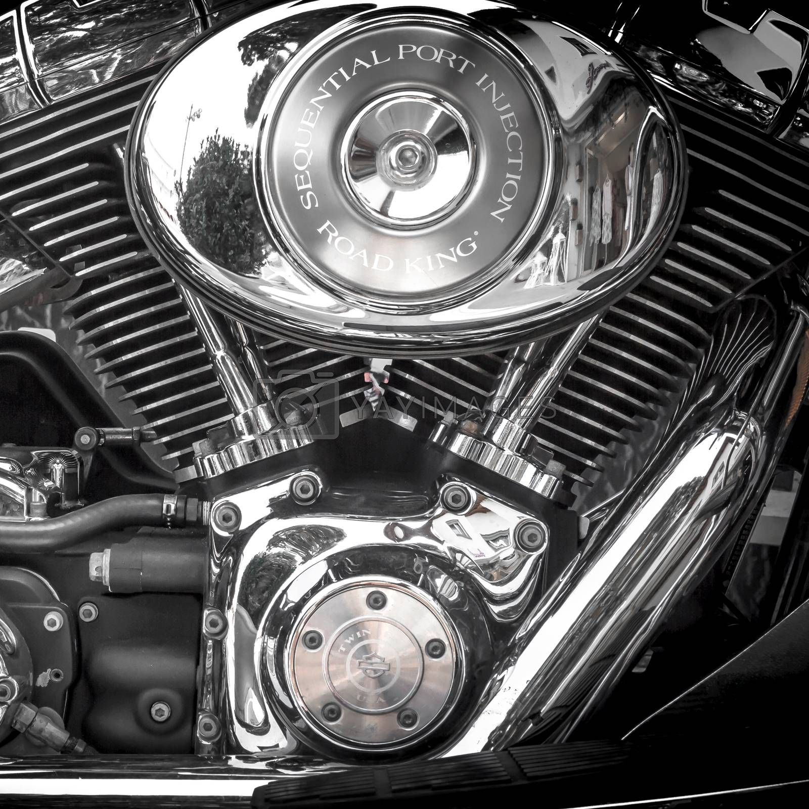 Motorcycle Harley Davidson. Motorcycle tank and engine's details. Jesolo (VE), ITALY - July 29, 2017.