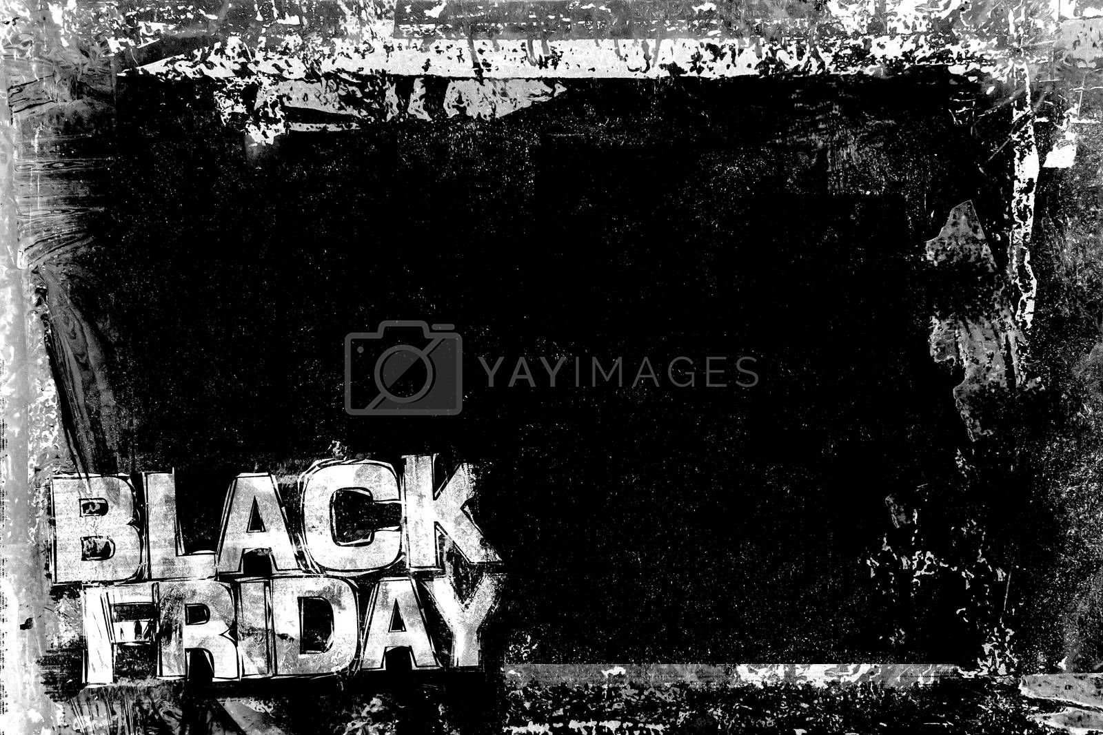 Black Friday Grunge Background with grungy frame and remains of scotch tape and cellophane. Fully editable. Dirty artistic design element, box, frame for text. Doodle frame.