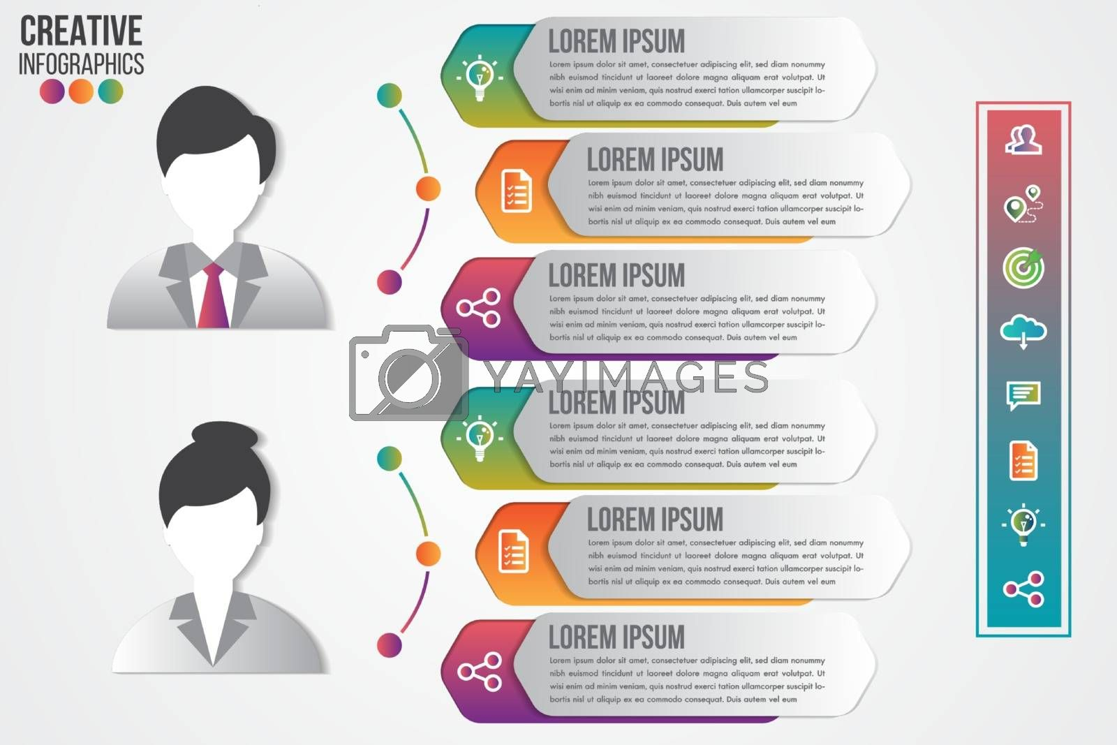 Infographics template men and women symbol avatar with icons set for presentation design clean number banners. Can be used for workflow layout, diagram, business step options, web design.