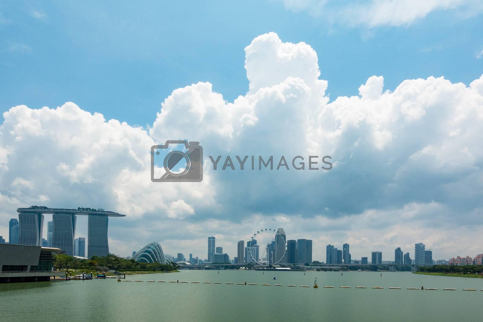 Singapore - 22 April 2018; Sigapore City, Panorama of Marina Bay and The National Symbol Of Singapore