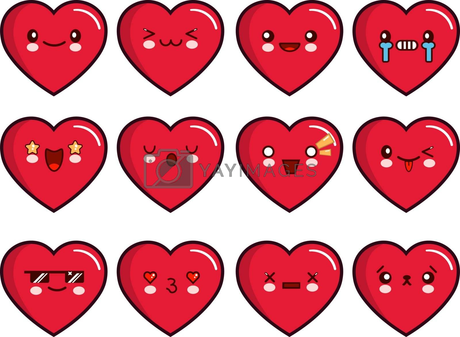 Heart emoticons set. Smiley icons vector set. Happy, sad, upset, crying, love, cool, star kiss sleepy and other emoticons llustration EPS