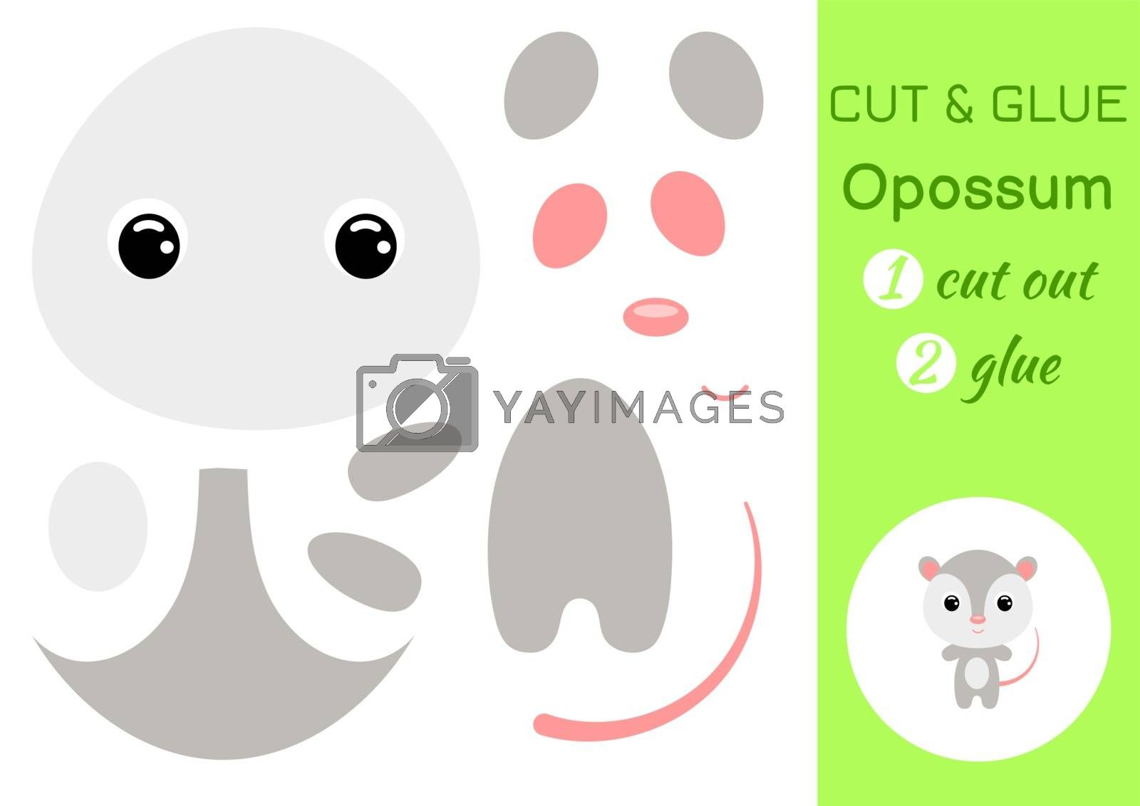 Cut and glue baby opossum. Education developing worksheet. Color paper game for preschool children. Cut parts of image and glue on paper. Cartoon character. Colorful vector stock illustration.