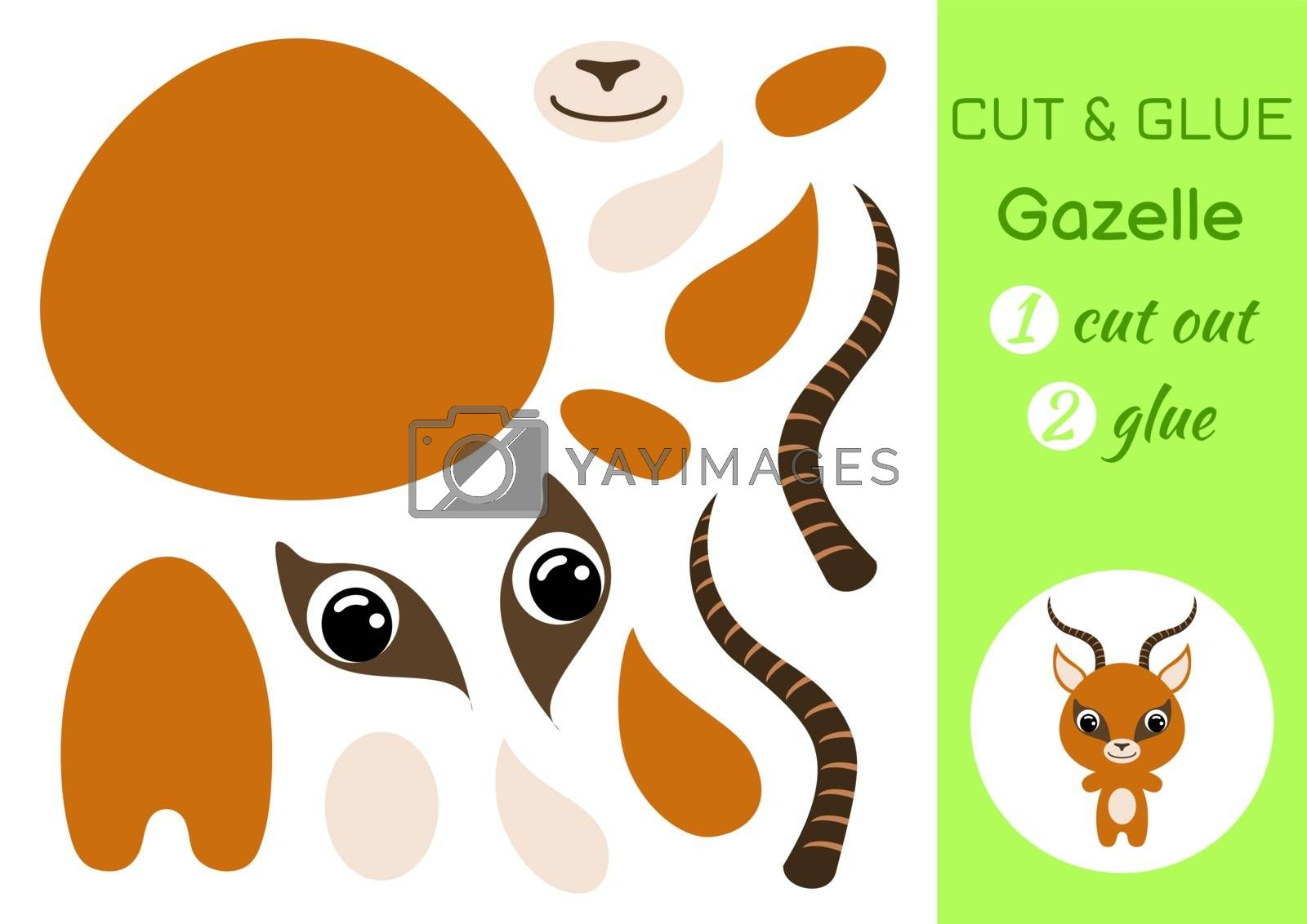Cut and glue baby gazelle. Education developing worksheet. Color paper game for preschool children. Cut parts of image and glue on paper. Cartoon character. Colorful vector stock illustration.