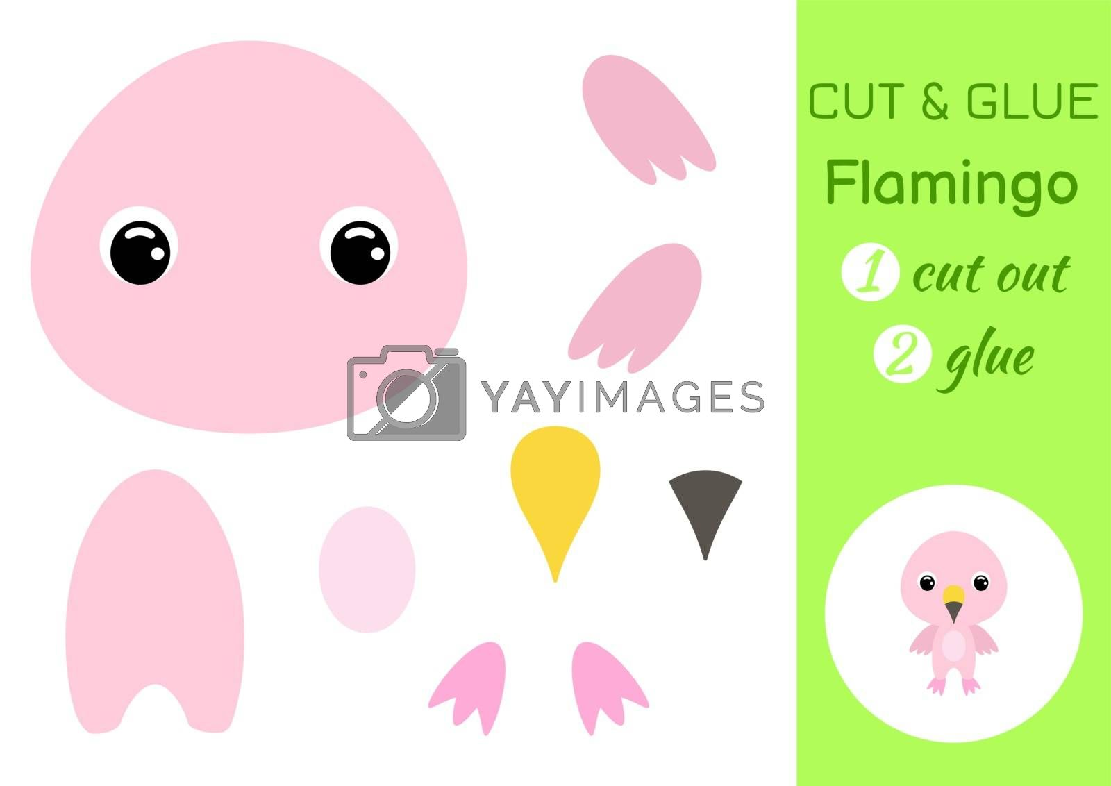 Cut and glue baby flamingo. Education developing worksheet. Color paper game for preschool children. Cut parts of image and glue on paper. Cartoon character. Colorful vector stock illustration.