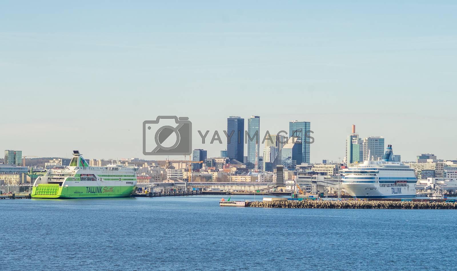 23 April 2019, Tallinn, Estonia. High-speed passenger and car ferrys of the Estonian shipping concern Tallink Silja Europa and Star in the port of Tallinn.