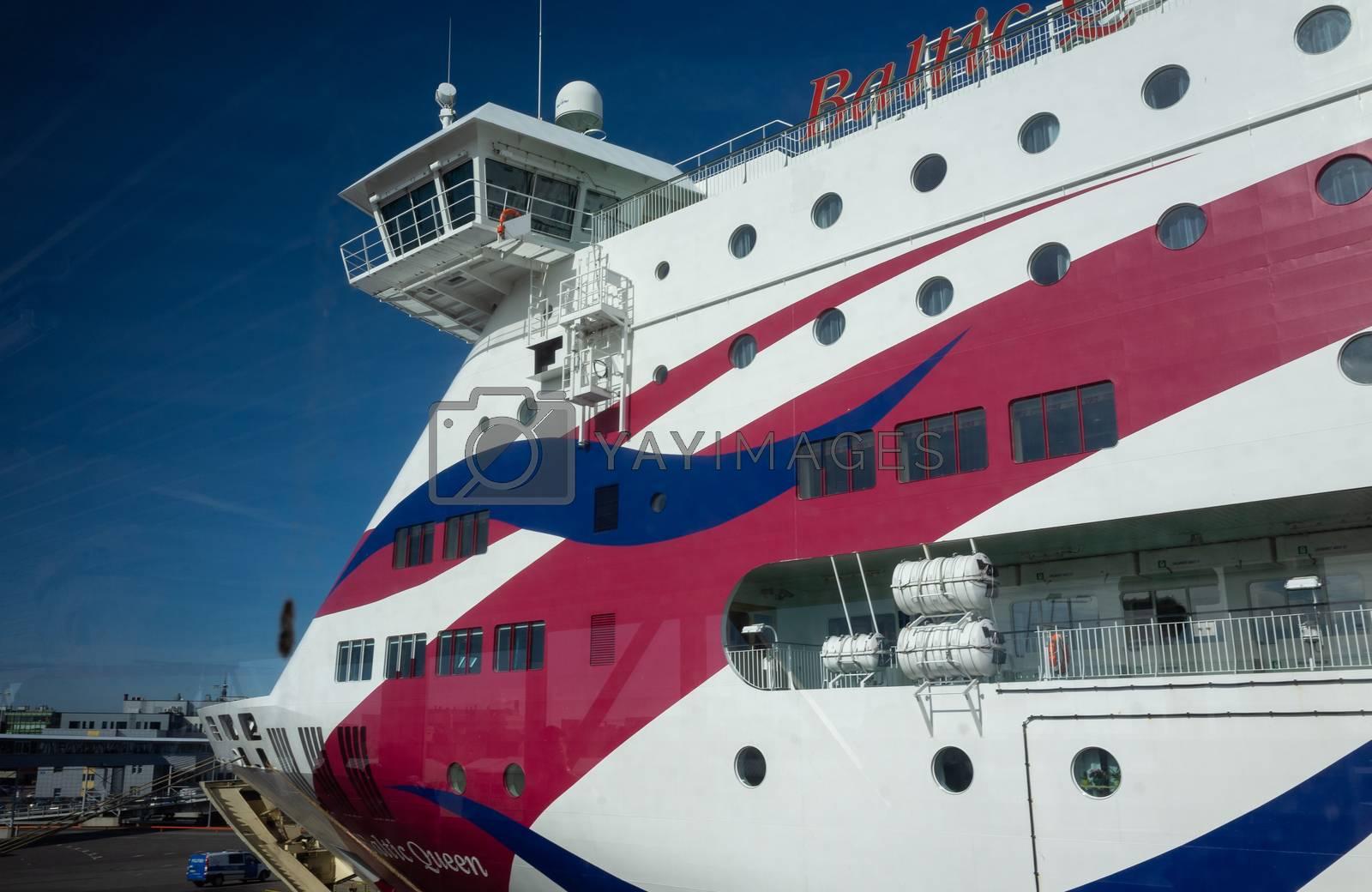 23 April 2019, Tallinn, Estonia. High-speed passenger and car ferry of the Estonian shipping concern Tallink Baltic Queen in the port of Tallinn.