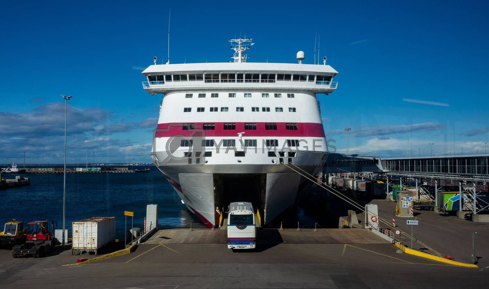 23 April 2019, Tallinn, Estonia. Passenger bus calls in high-speed passenger and car ferry of the Estonian shipping concern Tallink Baltic Queen in the port of Tallinn.