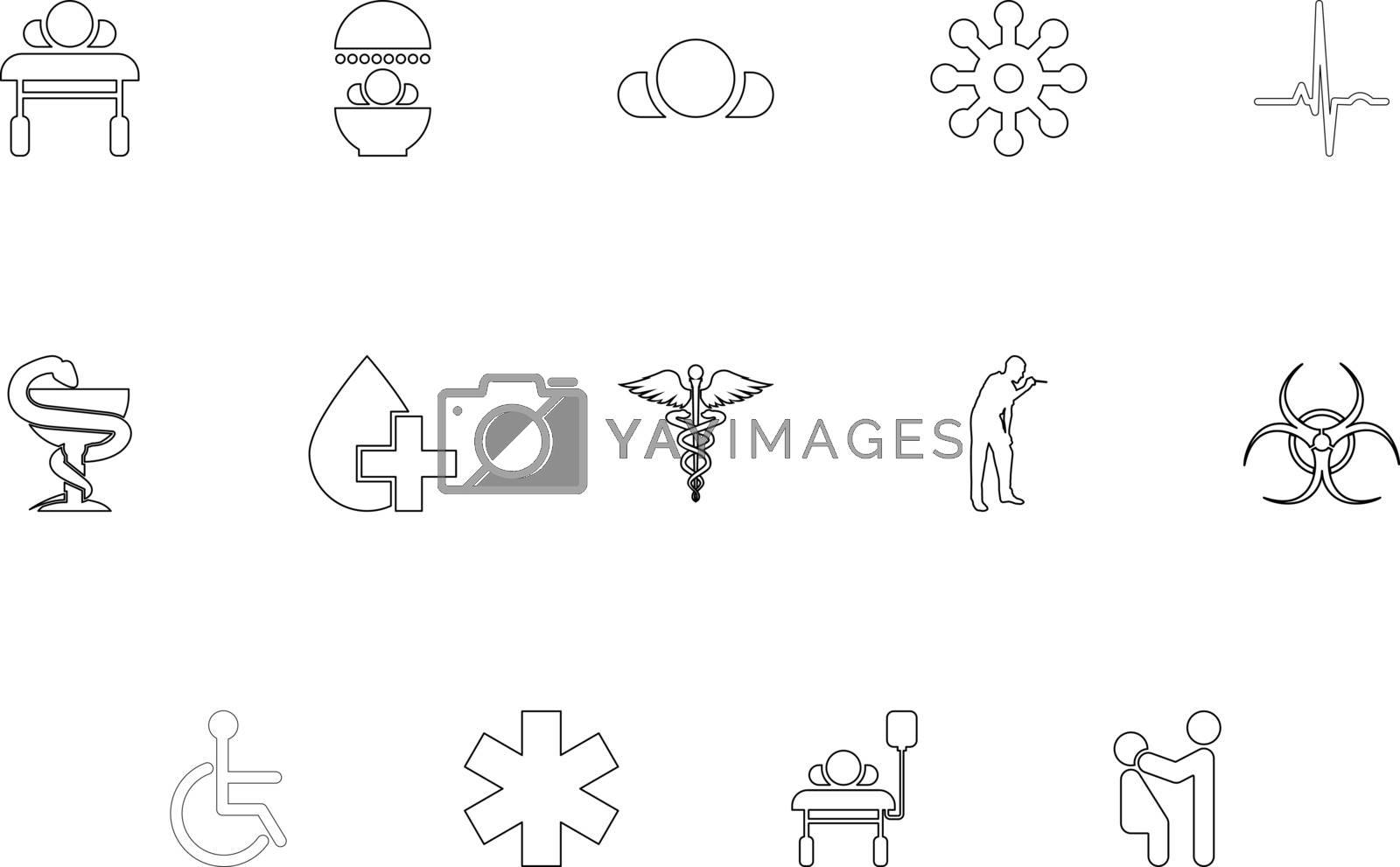 Medical symbol treatment concept outline black color set solid style vector illustration