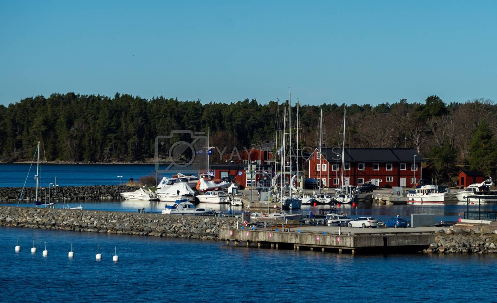 April 22, 2018, Stockholm Sweden. Marina for yachts on dwellings island of the Stockholm archipelago in the Baltic Sea in the early morning.