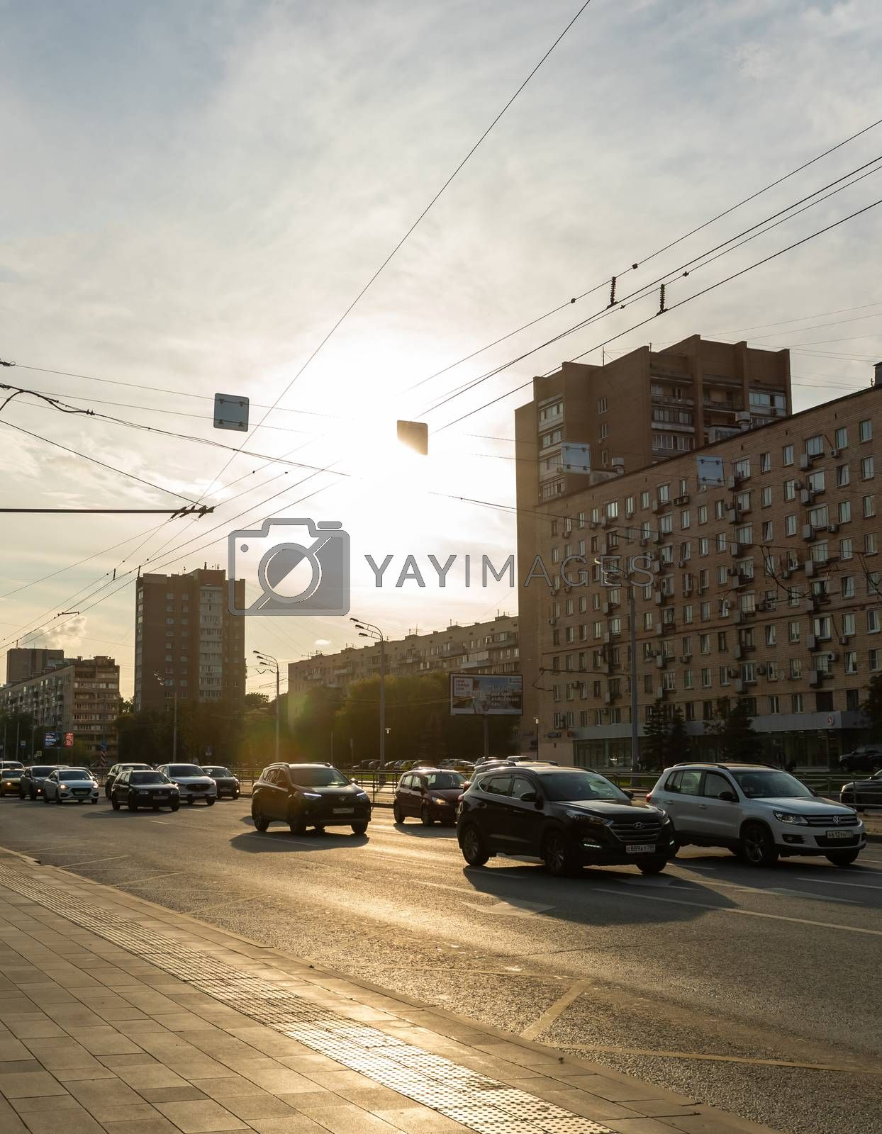 August 14, 2019, Moscow, Russia. Car traffic on Bolshaya Cherkizovskaya street in Moscow.