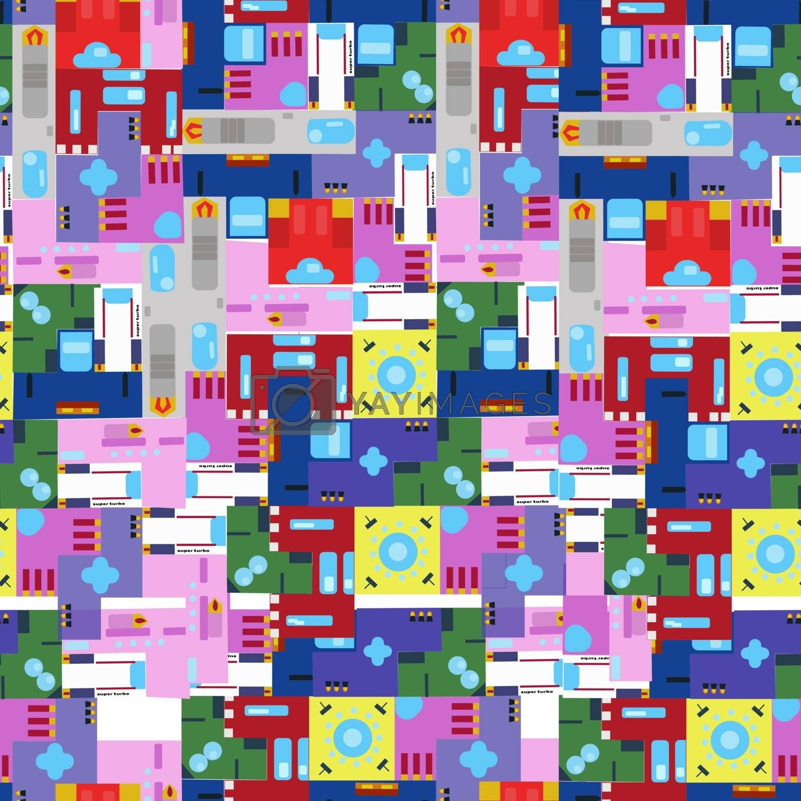 seamless pattern from square spaceships. Vector illustration