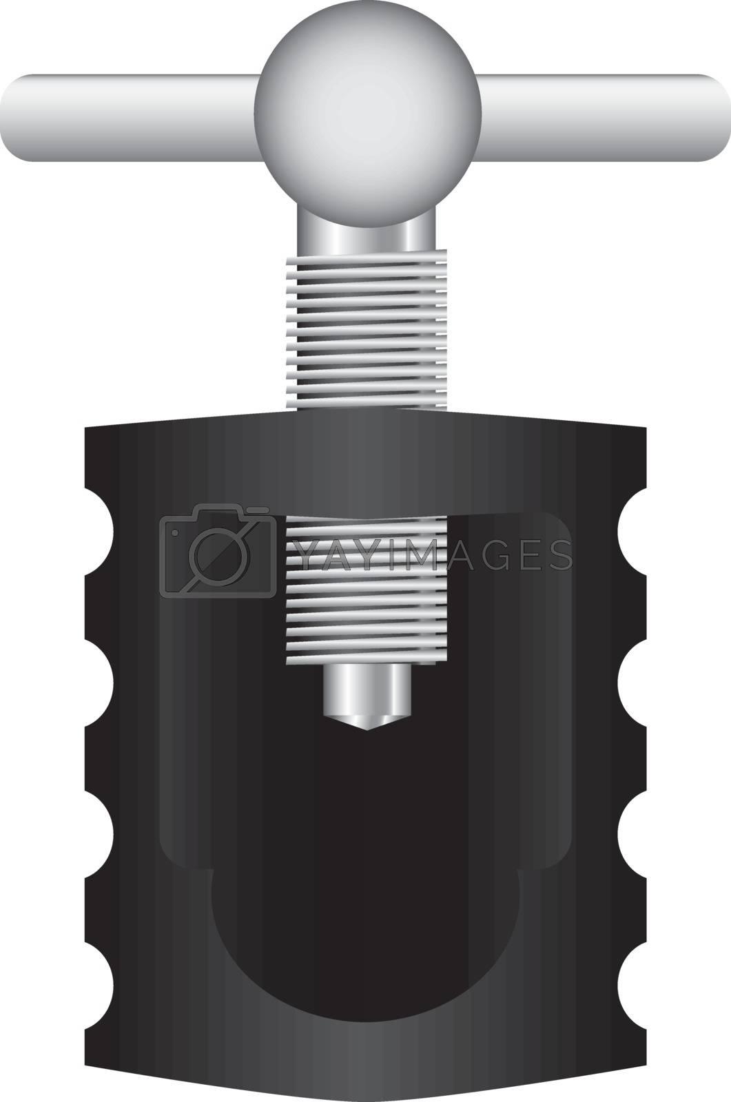Screw nutcracker for household use. Vector illustration