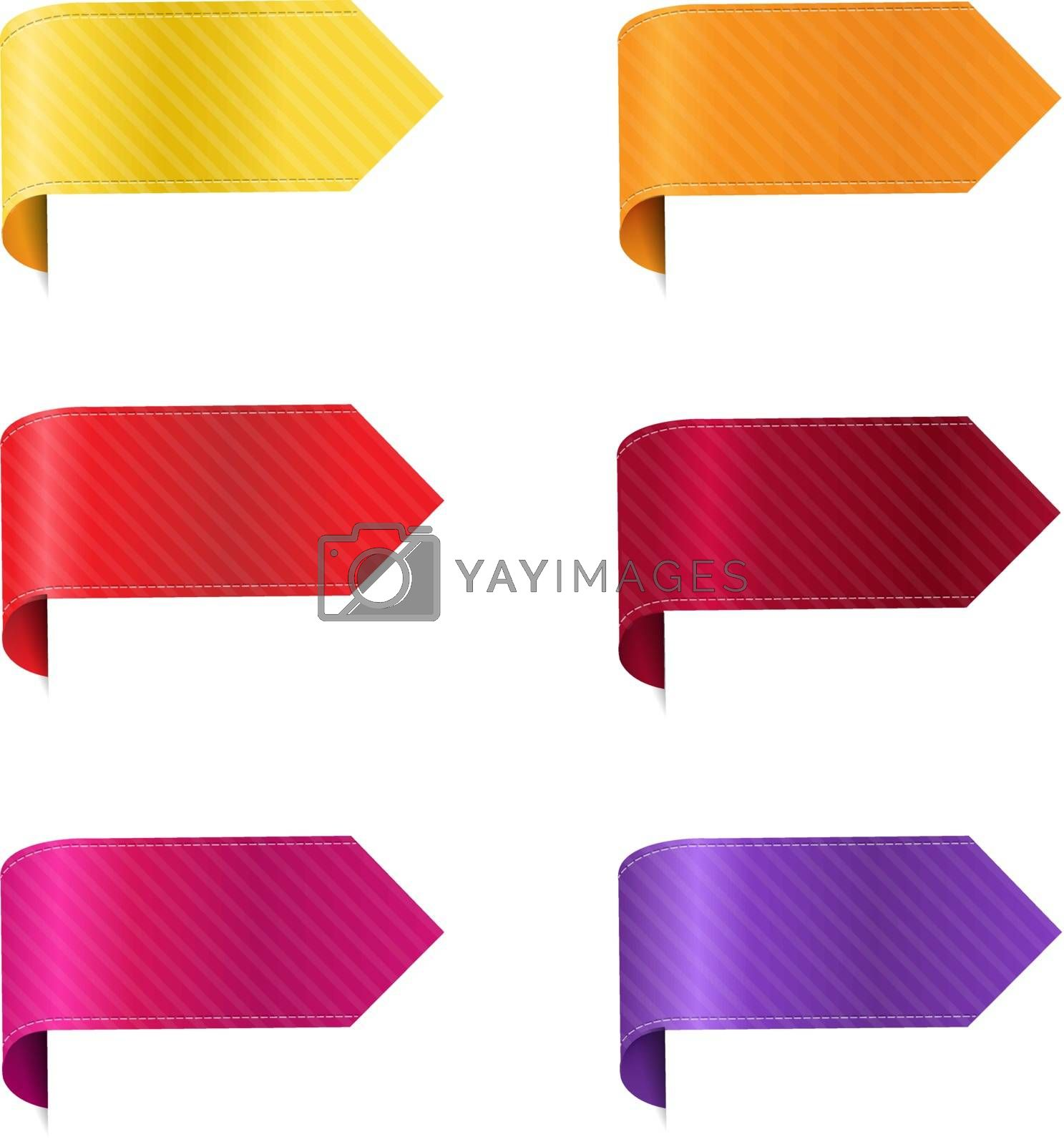 Silk Colorful Ribbon Set Isolated With White Background With Gradient Mesh, Vector Illustration
