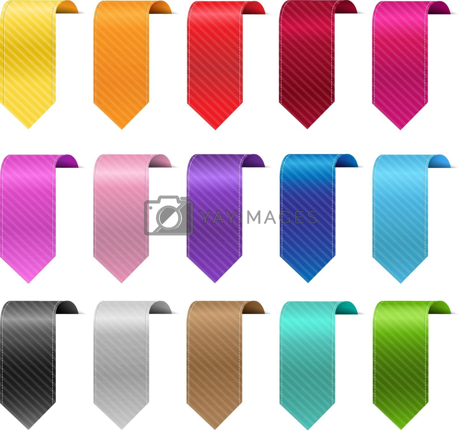 Silk Colorful Ribbon Set Isolated White Background With Gradient Mesh, Vector Illustration
