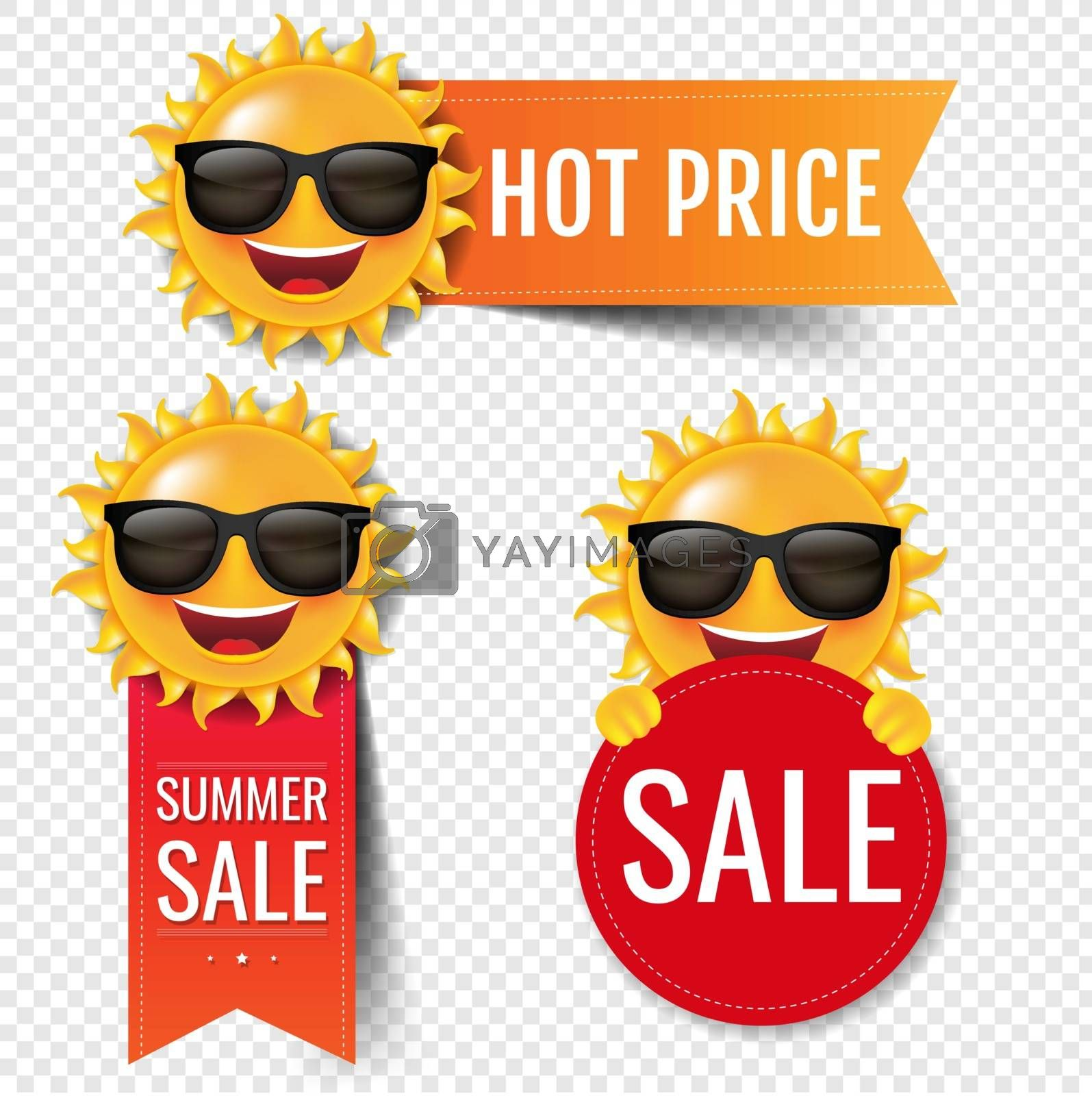 Sale Red Ribbon Set With Sun Transparent Background With Gradient Mesh, Vector Illustration