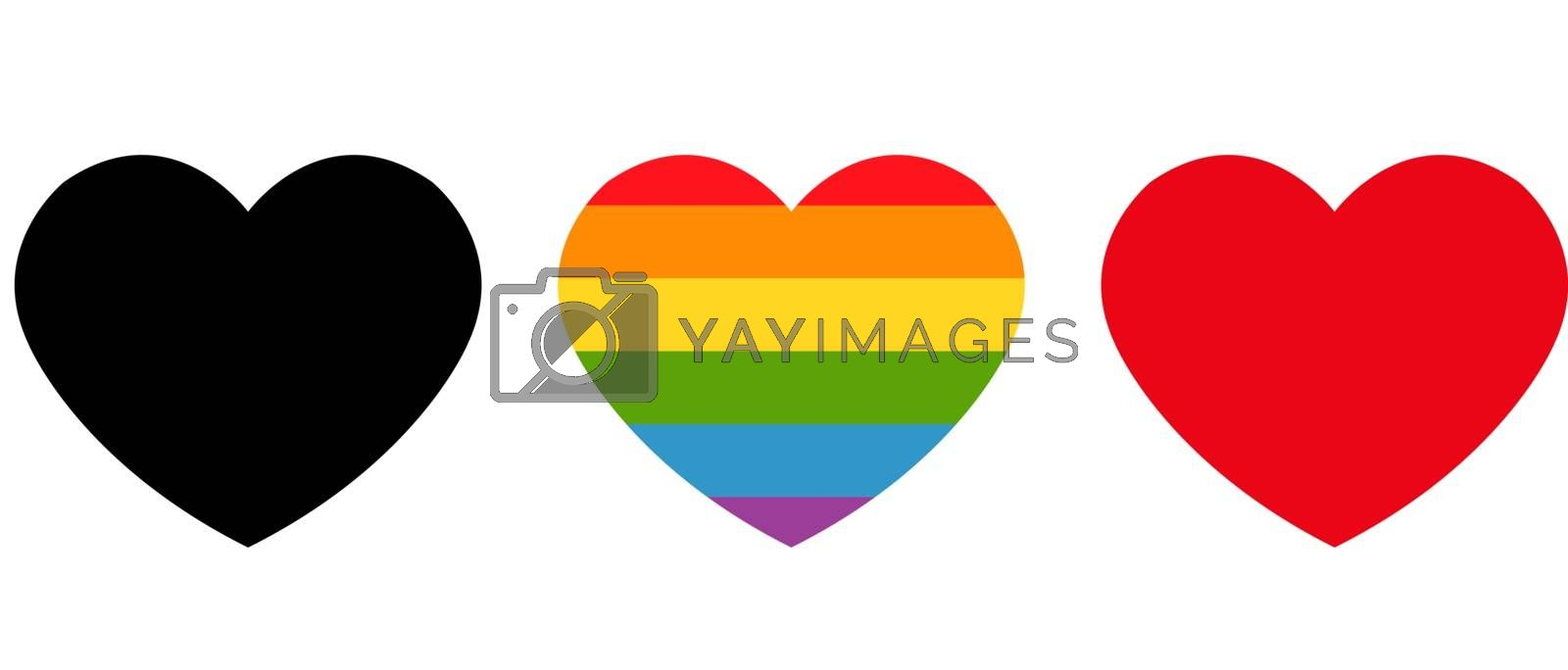 Heart Icons Collection Isolated White Background, Vector Illustration