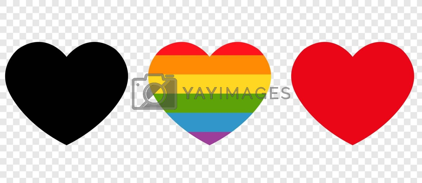 Heart Icons Collection Isolated Transparent Background Background With Gradient Mesh, Vector Illustration