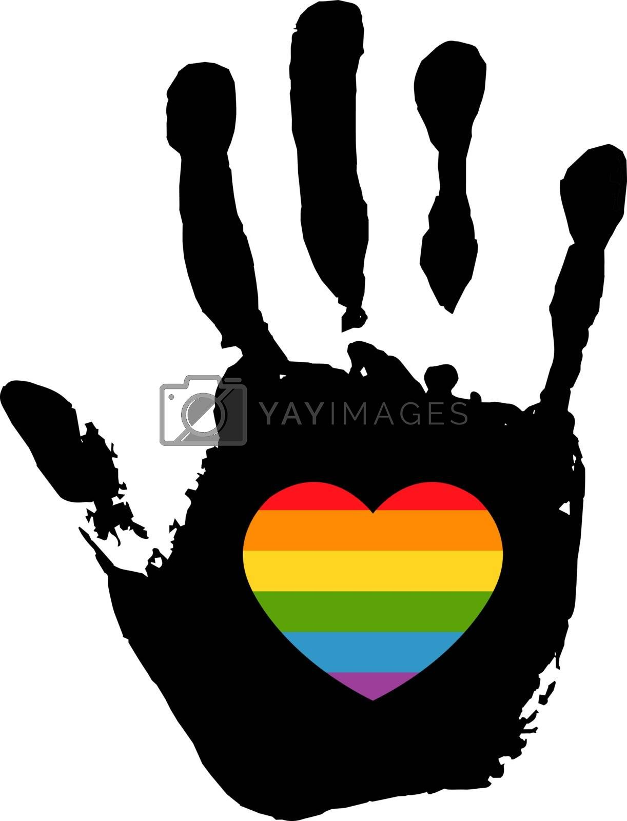 Hand Print With Heart White Background, Vector Illustration