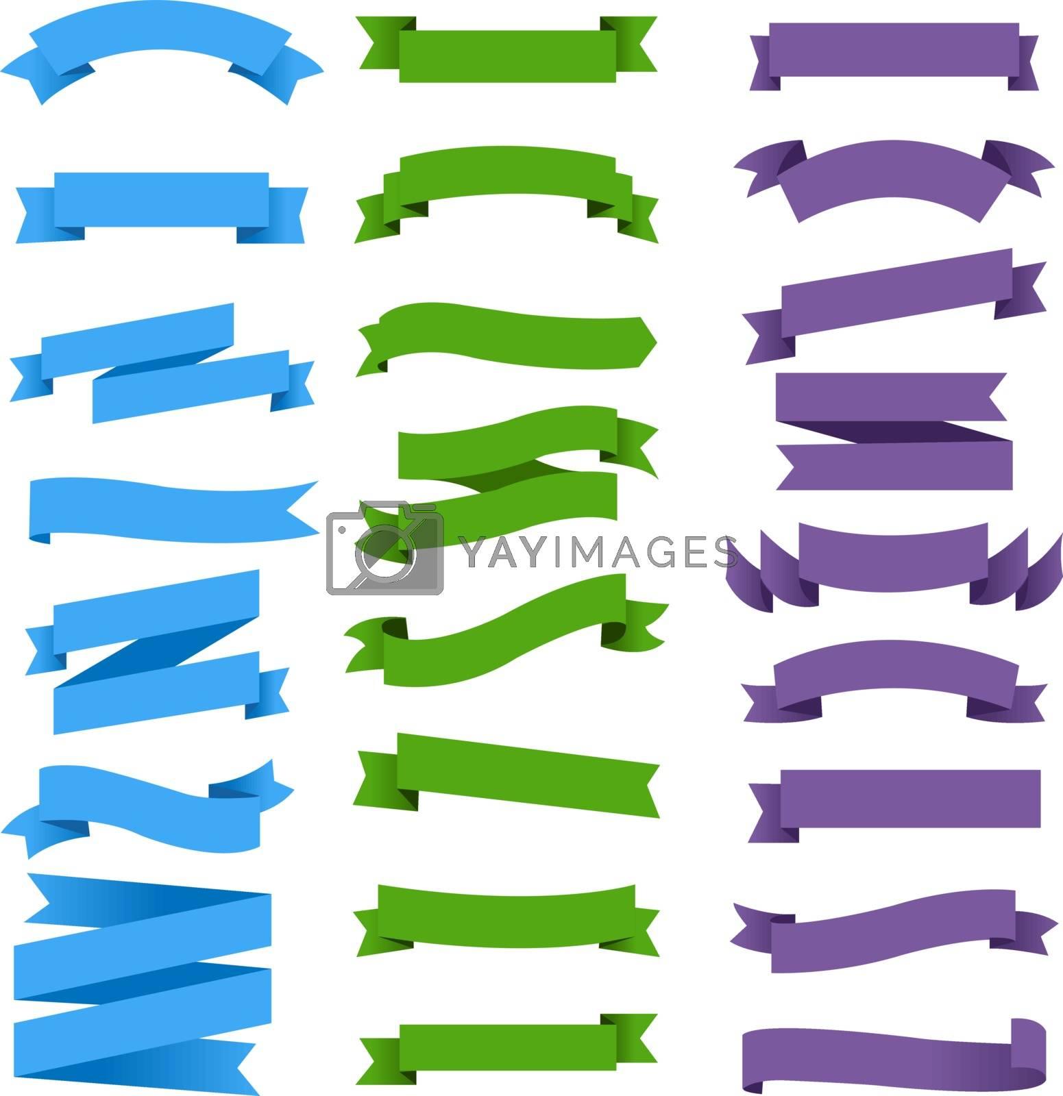 Colorful Ribbon Set White Background, Vector Illustration