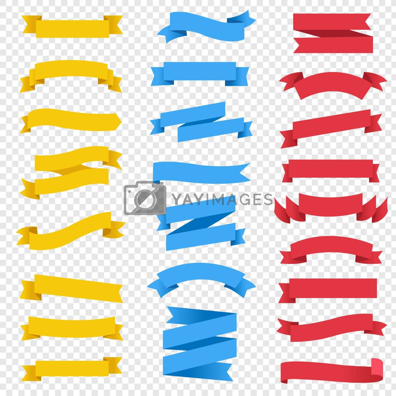 Colorful Ribbon Set Transparent Background With Gradient Mesh, Vector Illustration