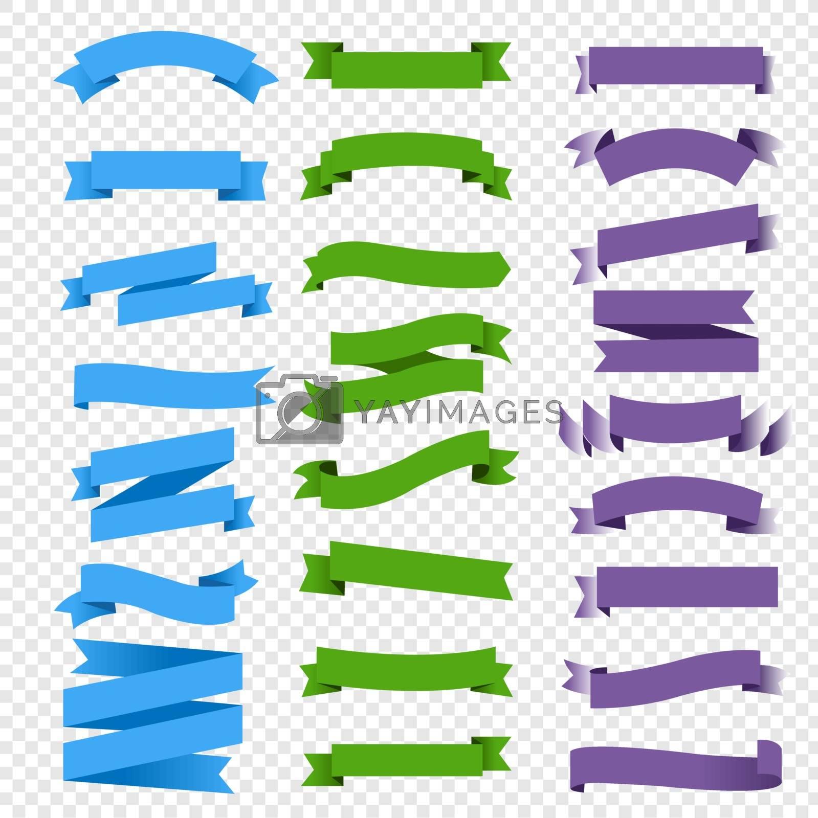 Colorful Ribbon Set Transparent Background, Vector Illustration