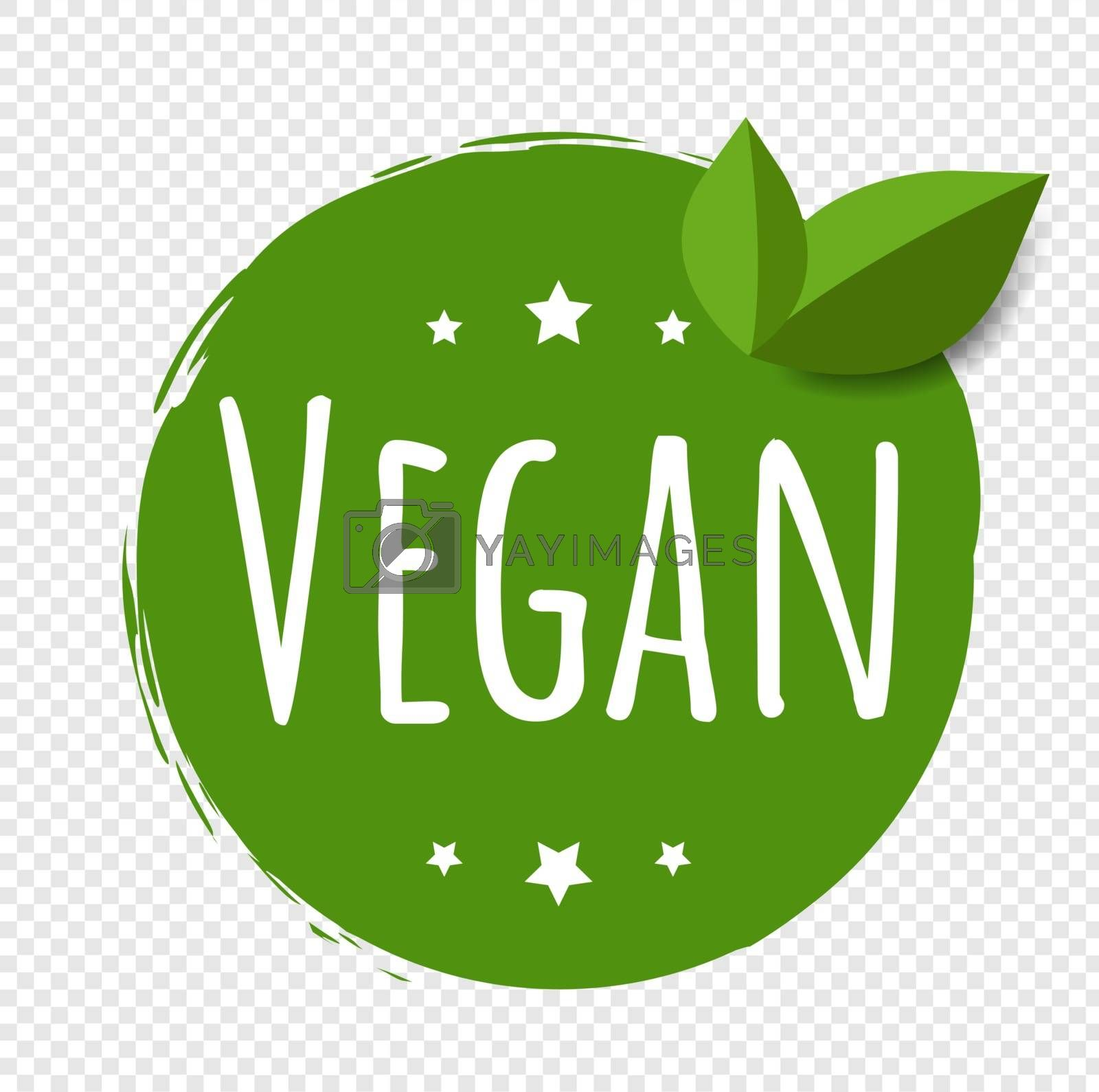 Vegan Label Isolated Transparent Background With Gradient Mesh, Vector Illustration