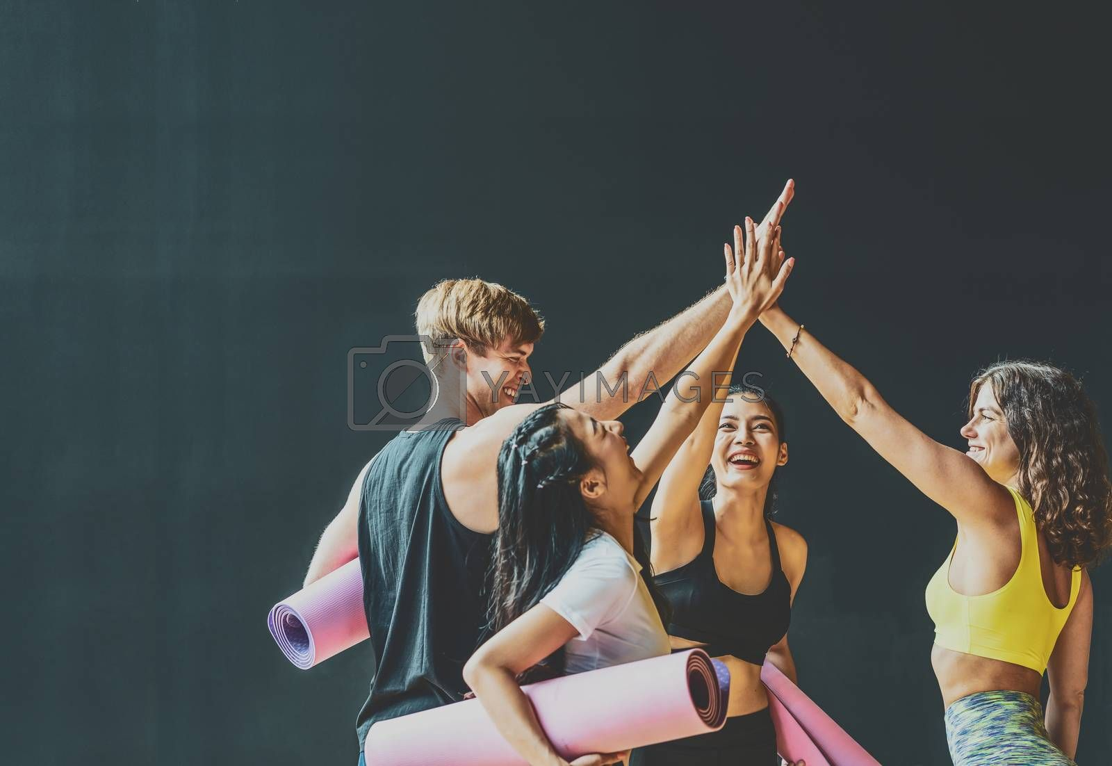 Group of diversity sporty people talking and celebrating by give me five with happiness, wearing sportswear bra and pants fashion, posture position, sport club community, sports and healthcare concept