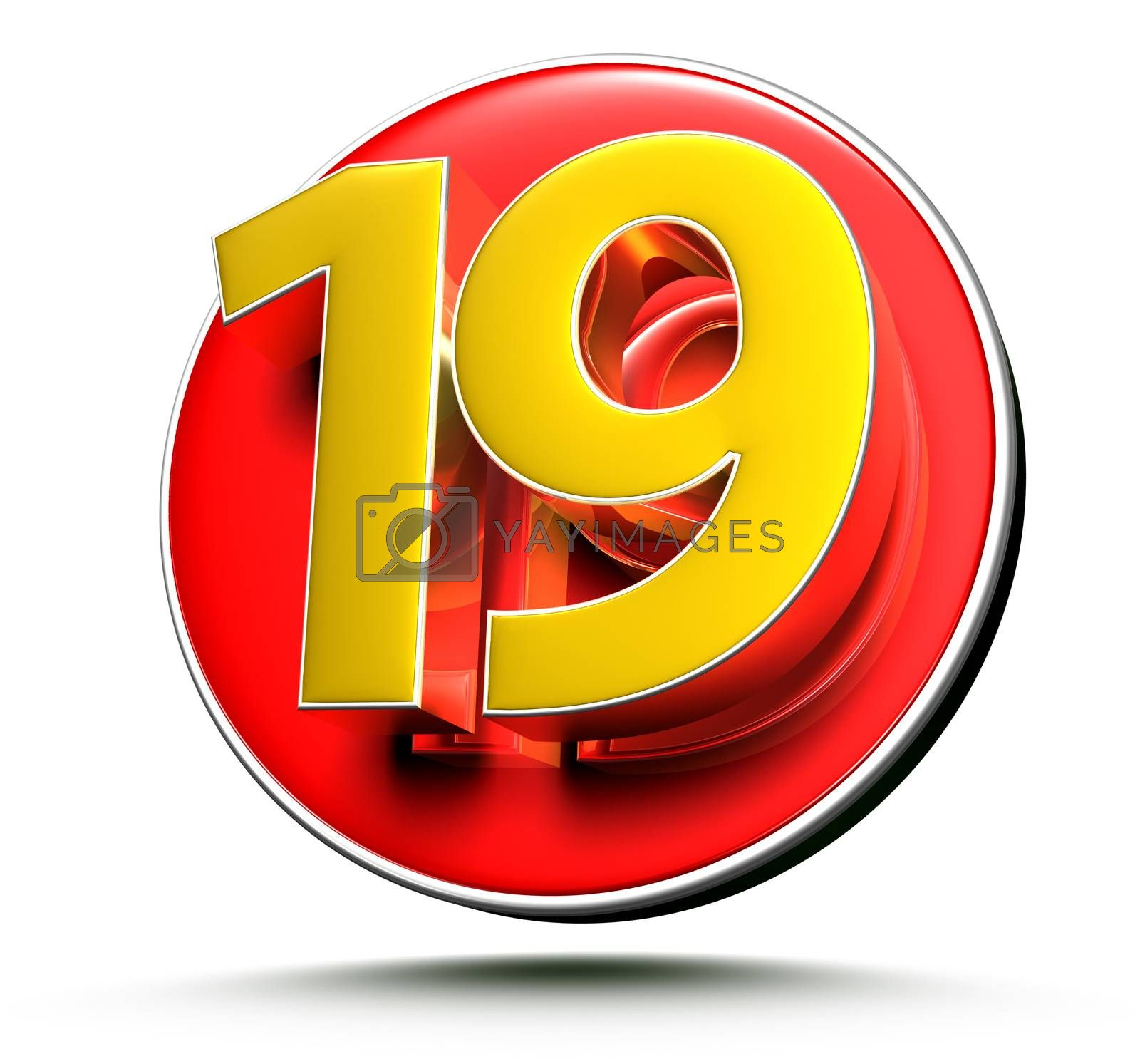 3D illustration Golden number 19 isolated on a white background.(with Clipping Path).