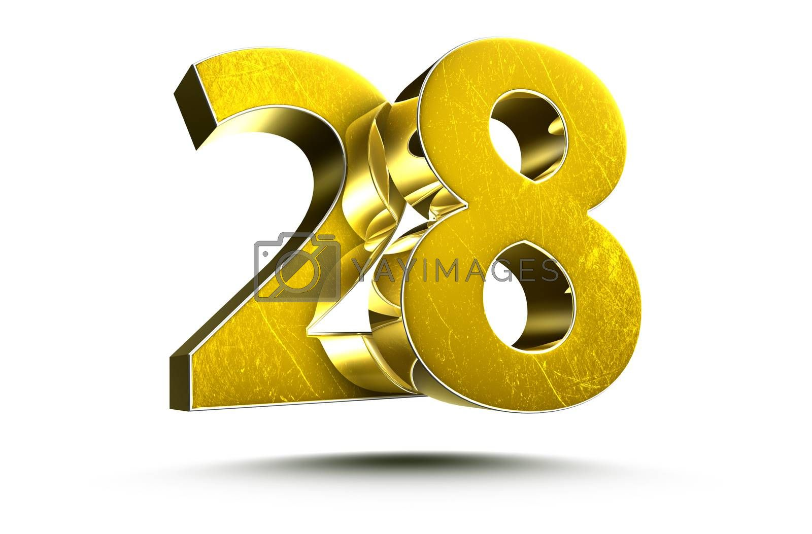 3D illustration Golden number 28 isolated on a white background.(with Clipping Path).